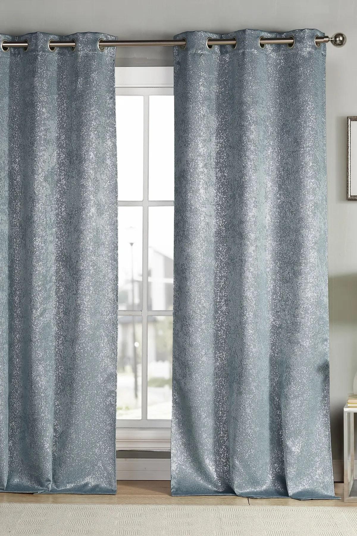 duck river textile maddie metallic specks blackout curtain set slate blue nordstrom rack