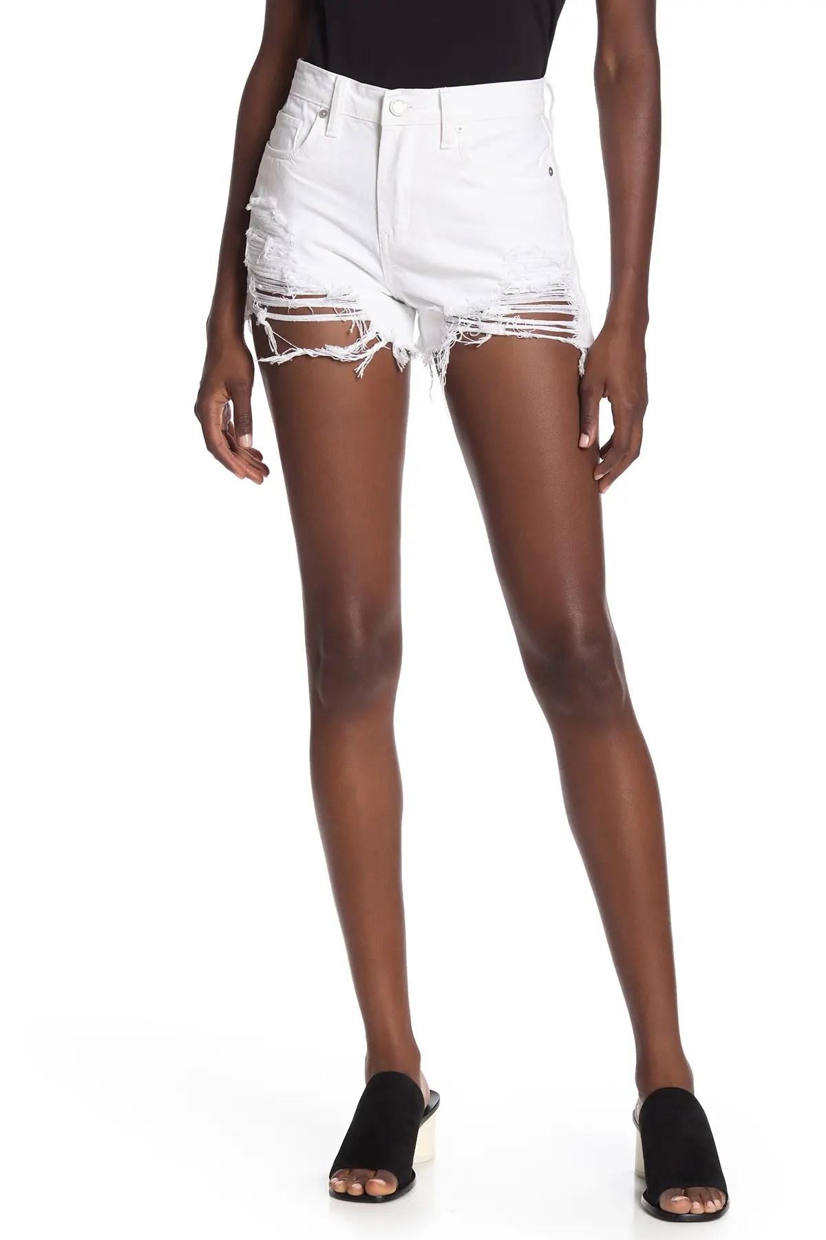 blanknyc denim high waist distressed denim shorts nordstrom rack