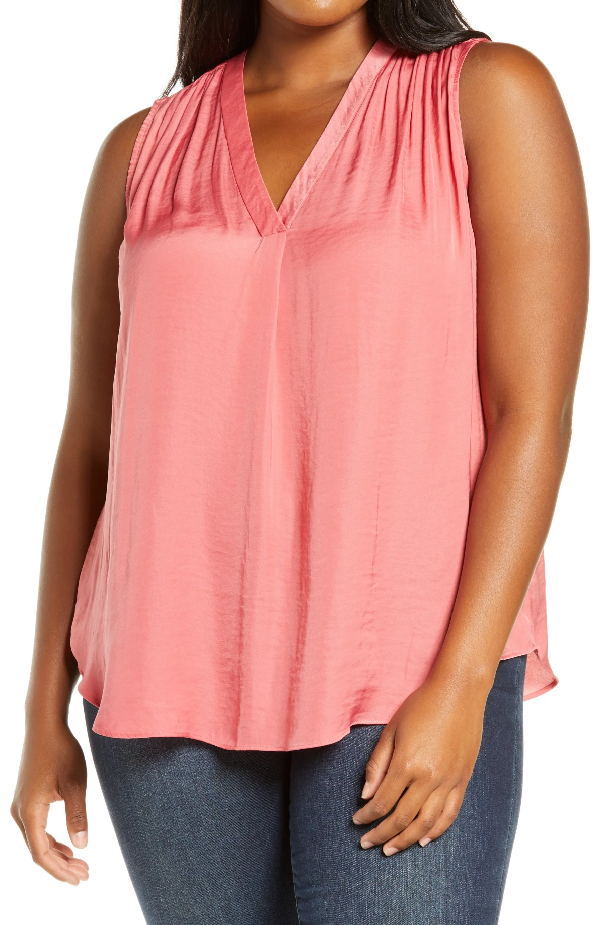 VINCE CAMUTO V-Neck Rumple Blouse, Main, color, CORAL BLOSSOM