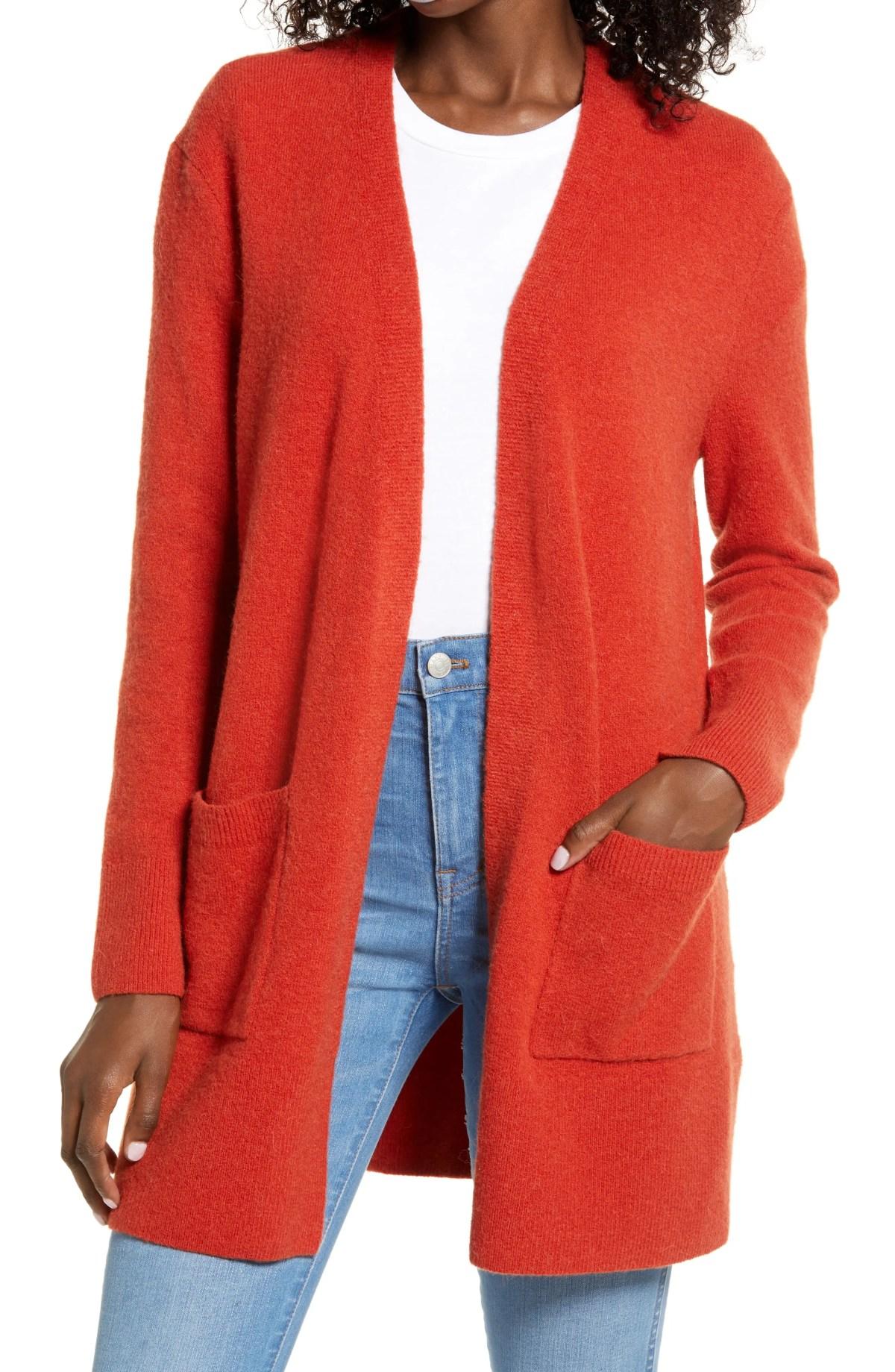 MADEWELL Kent Cardigan Sweater, Main, color, ESTRUSCAN CLAY