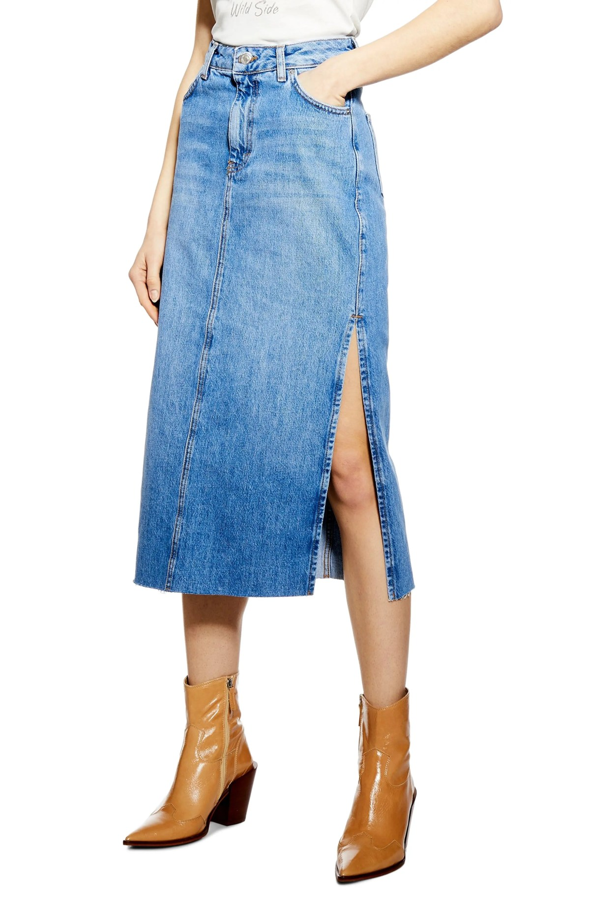 Split Denim Midi Skirt, Main, color, MID DENIM