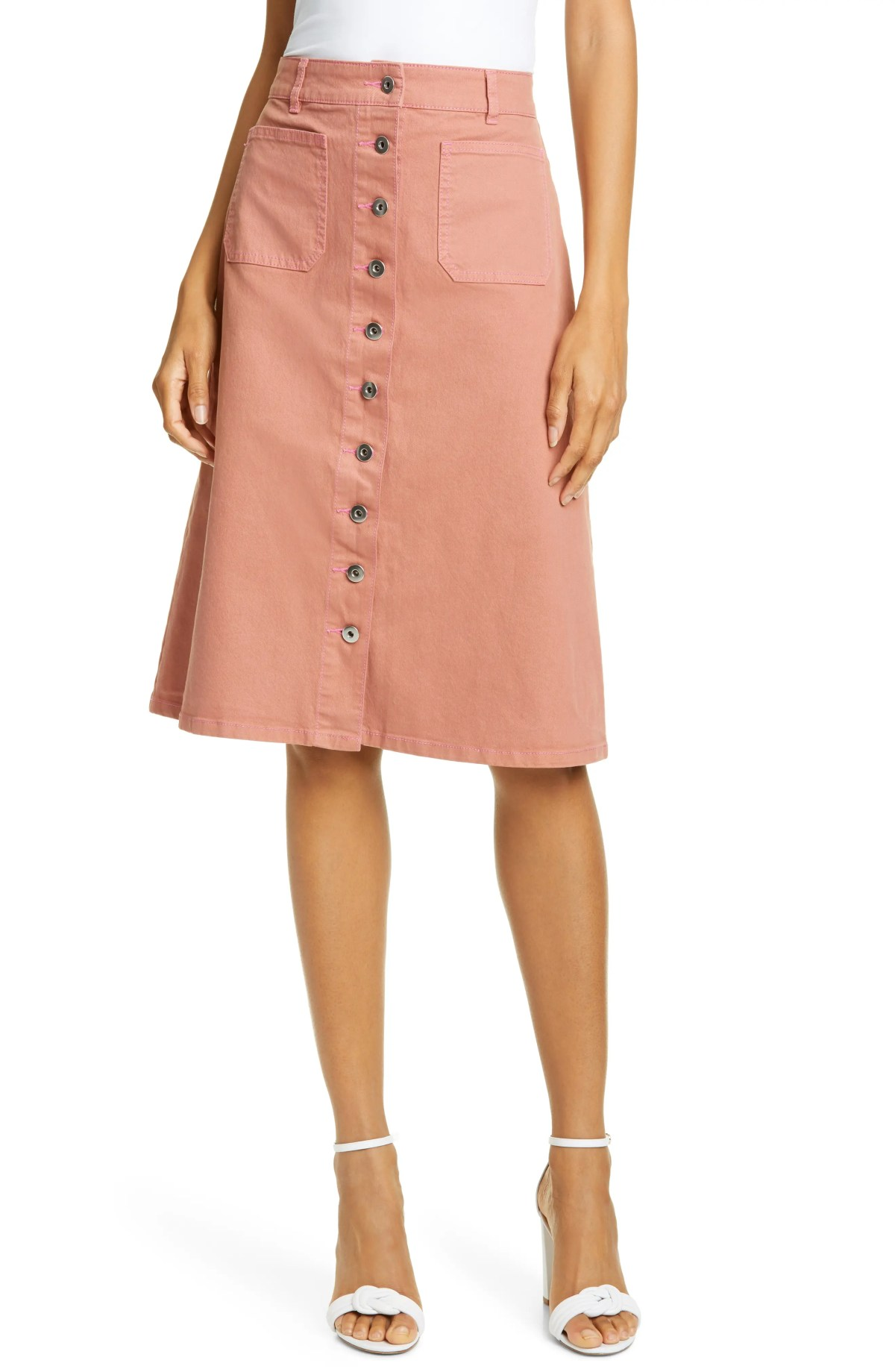 button front denim skirt, Main, color, NEARLY NUDE
