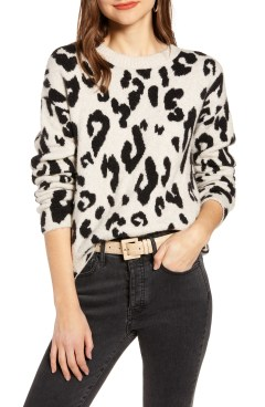 Leopard Crewneck Pullover, Main, color, 270