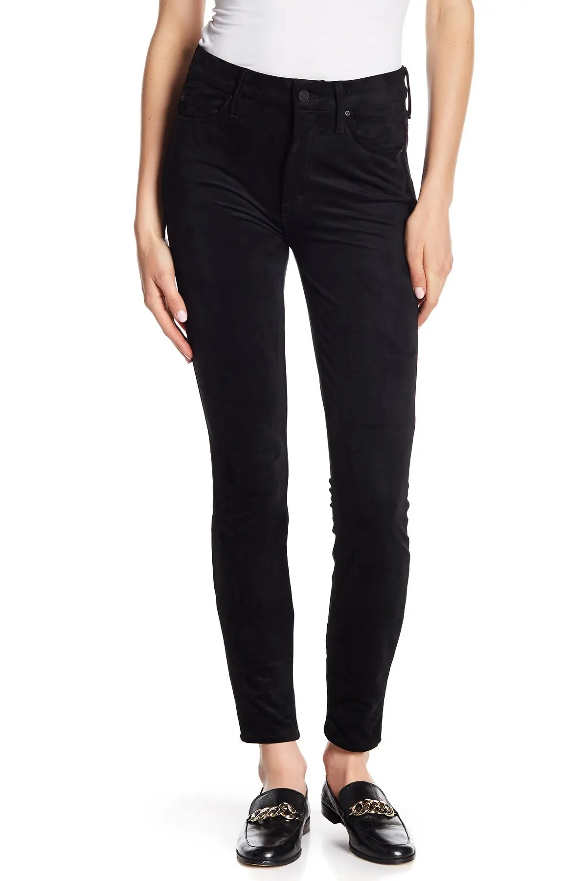 mother the looker high waisted faux suede skinny ankle jeans nordstrom rack