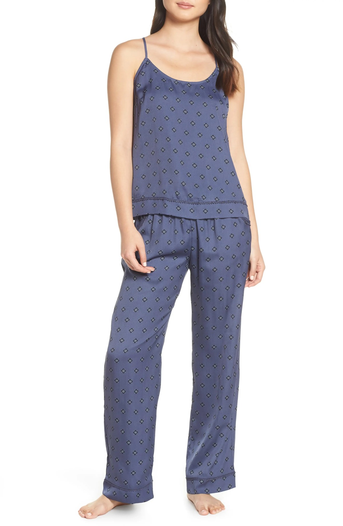 Sweet Dreams Satin Pajamas, Main, color, BLUE SHADOW GALE FOULARD