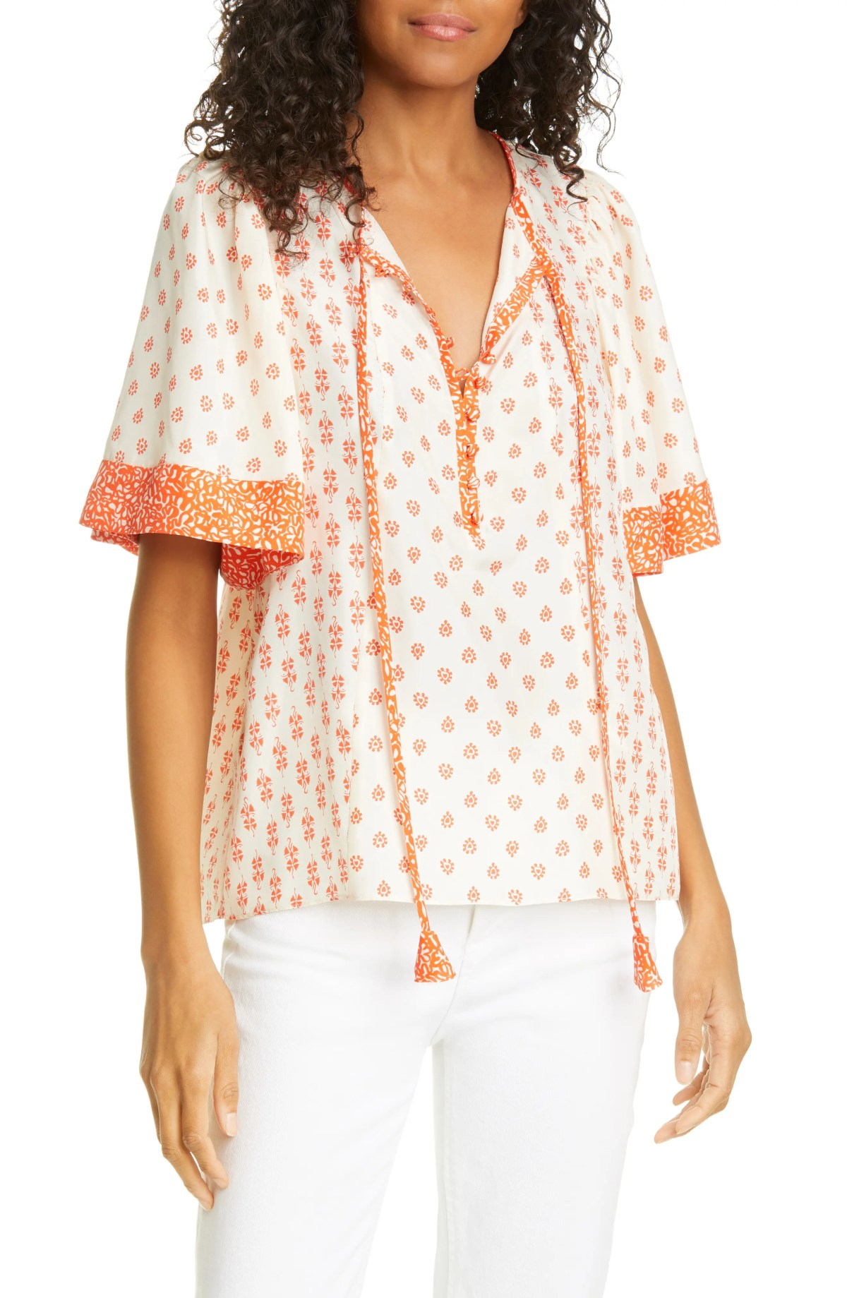 REBECCA TAYLOR Lily Mix Print Short Sleeve Silk Blouse, Main, color, TOMATO COMBO