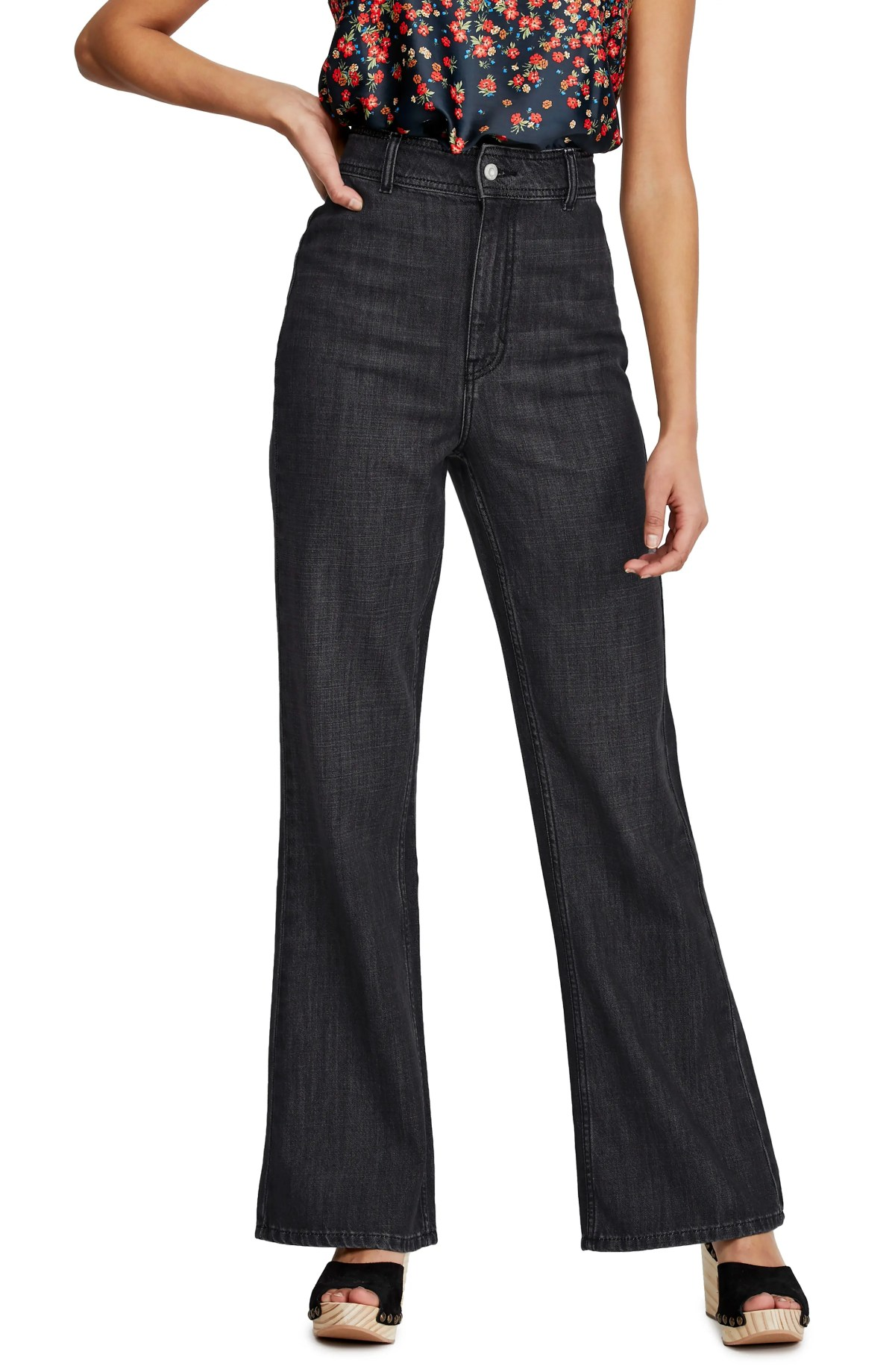 FREE PEOPLE Mindy Flare Jeans, Main, color, BLACK