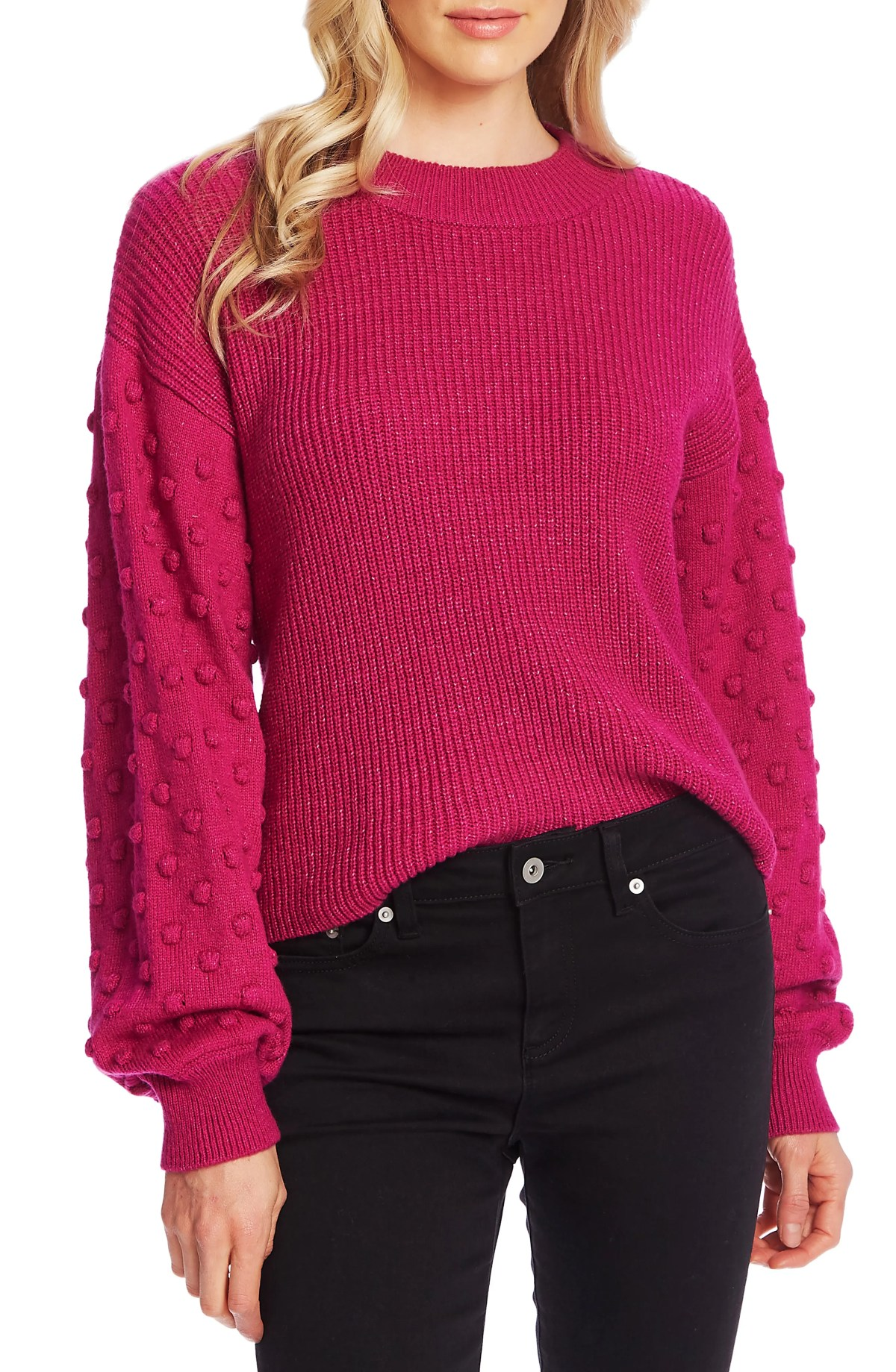 CECE Puff Sleeve Bobble Ribbed Sweater, Main, color, PASSION PINK