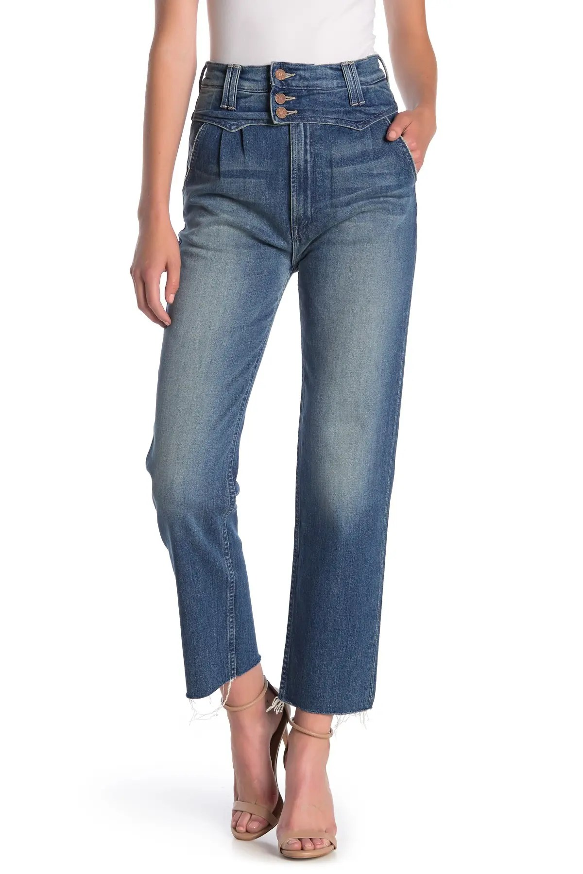 mother the shady pleated raw ankle jeans nordstrom rack