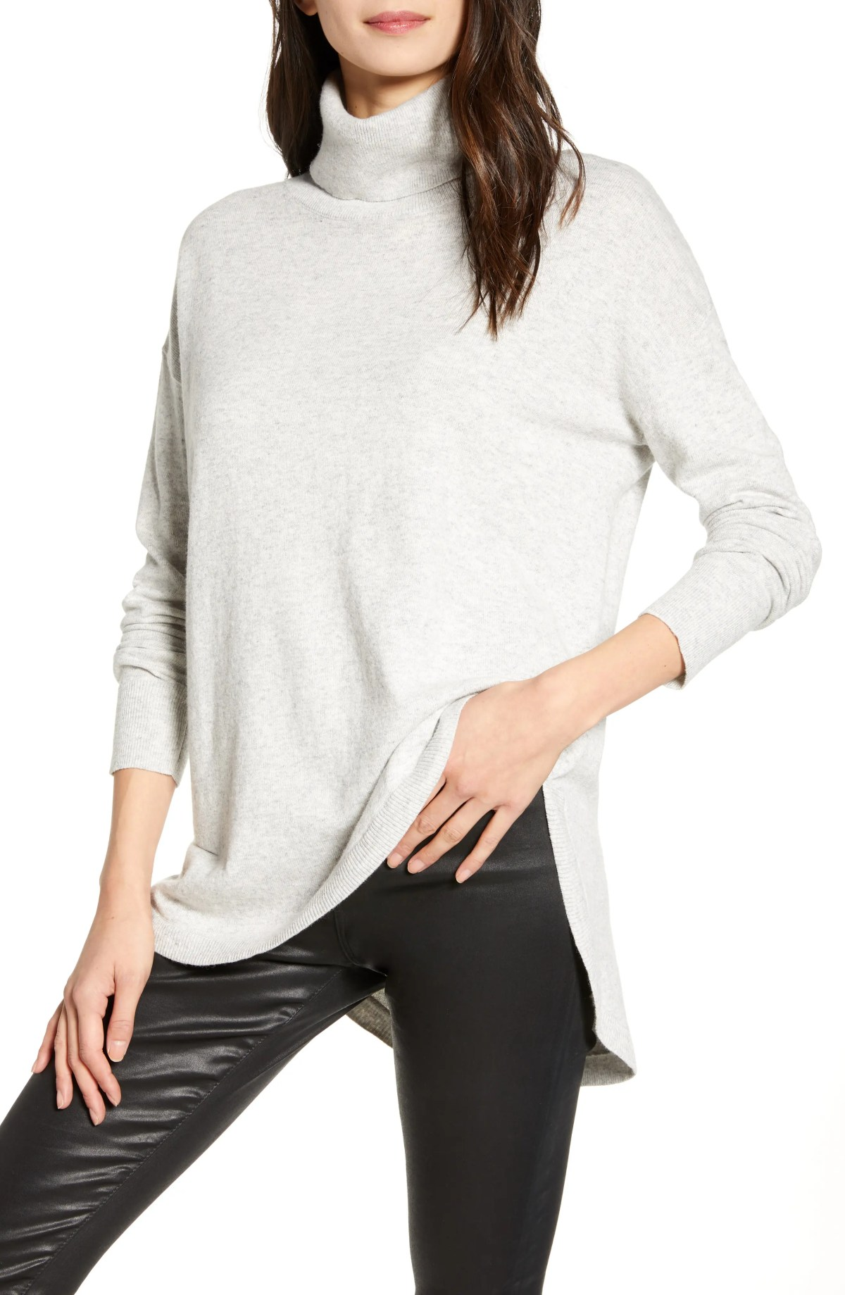 CHELSEA28 Turtleneck Sweater, Main, color, GREY LIGHT HEATHER