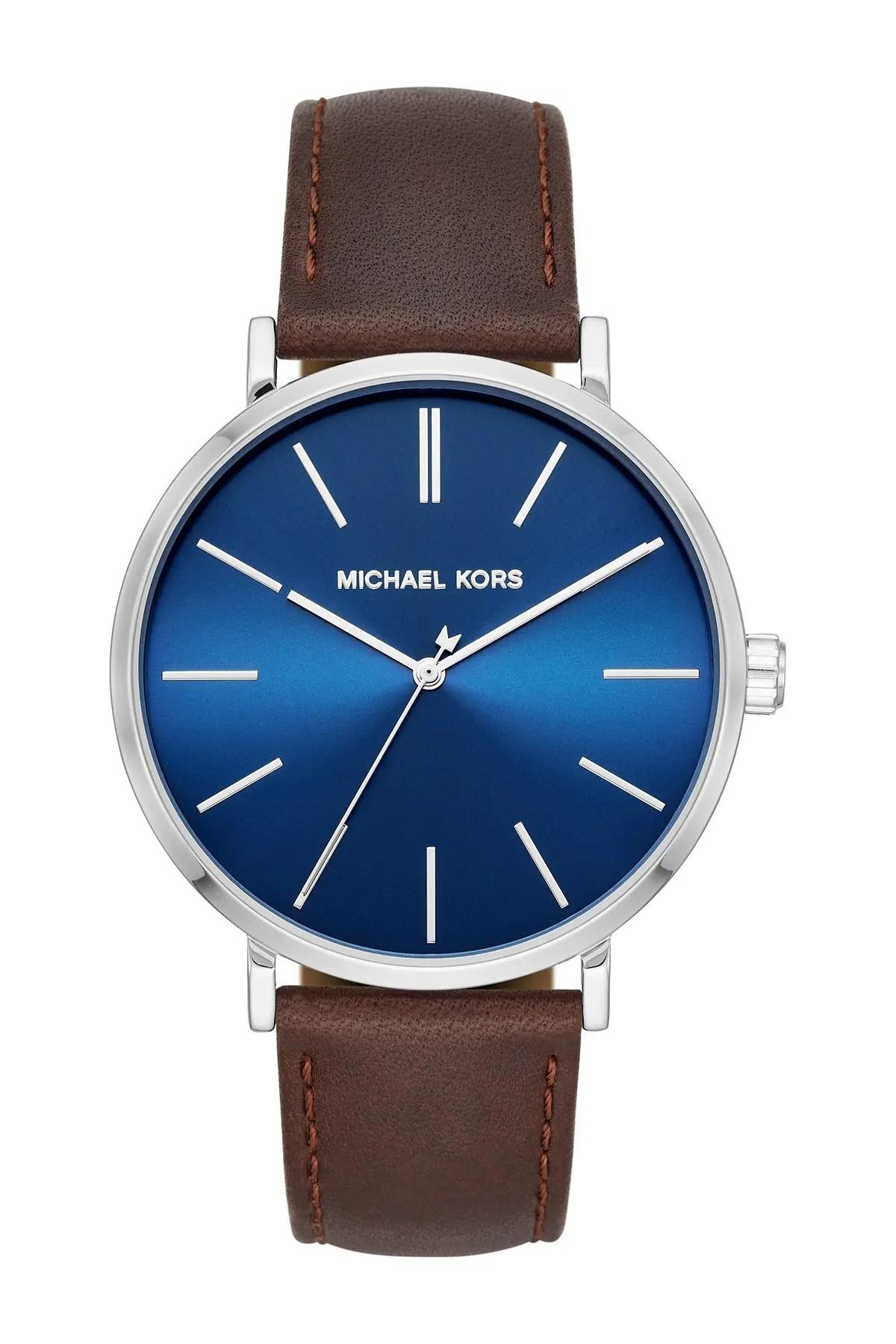 michael michael kors men s auden three hand brown leather watch 42mm nordstrom rack