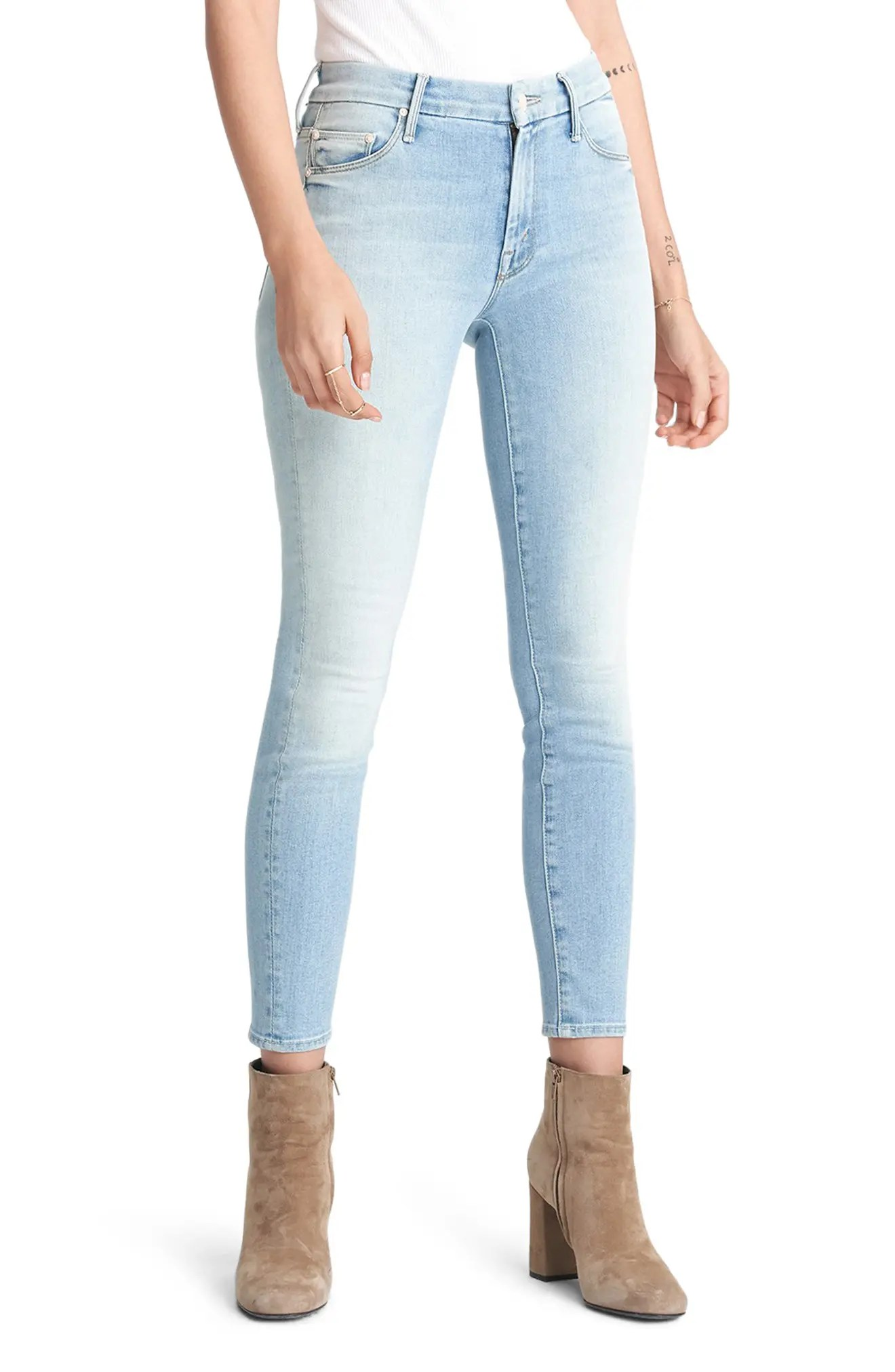 mother the looker high waist ankle skinny jeans nordstrom rack