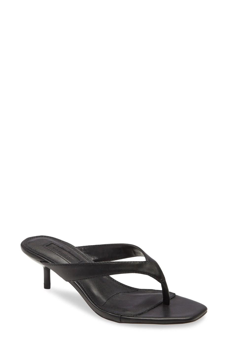 TOPSHOP Nina Mini Heel Mule Sandal, Main, color, BLACK