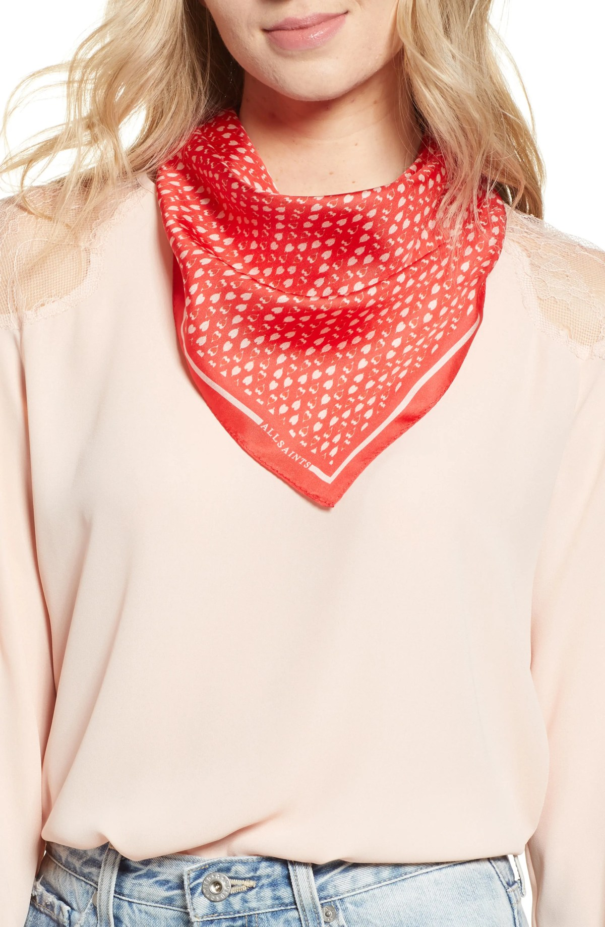 Hearts Silk Bandana Scarf, Main, color, RED