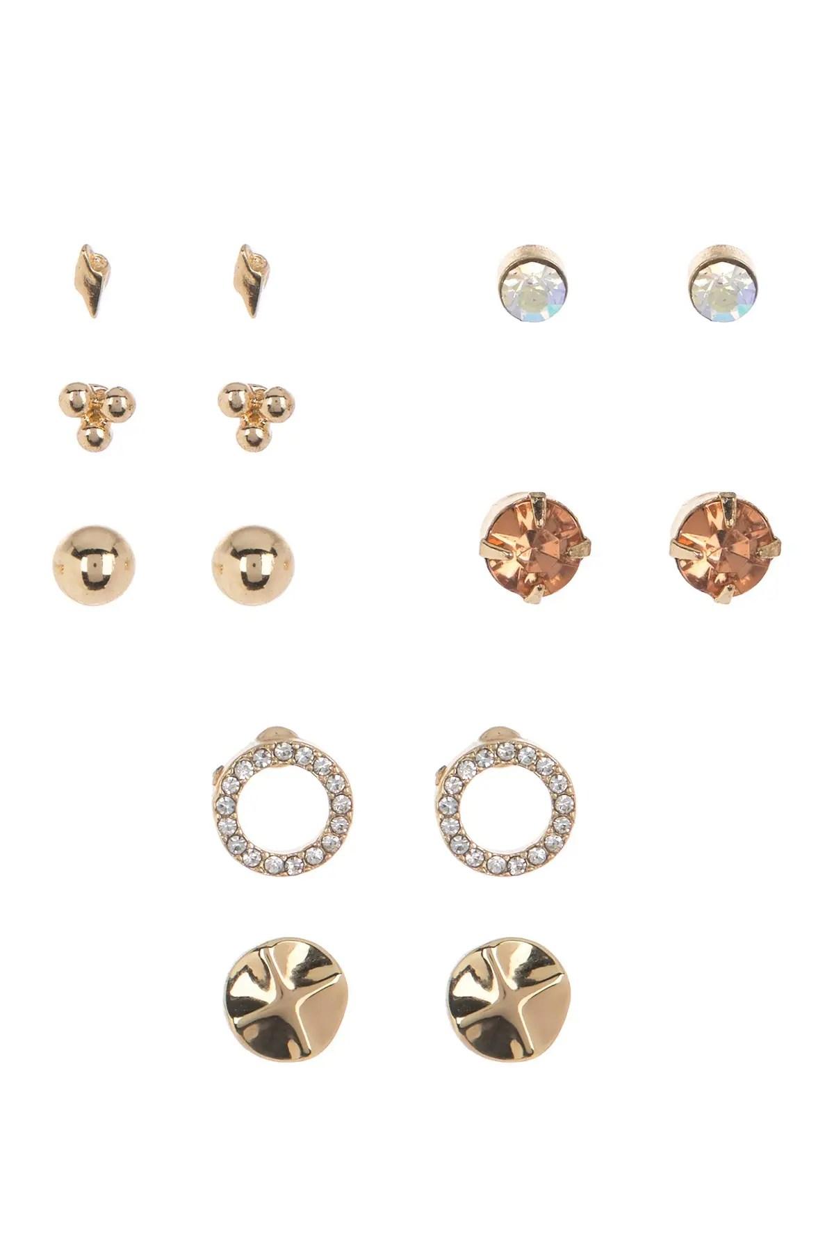free press embellished stud hoop earrings set nordstrom rack