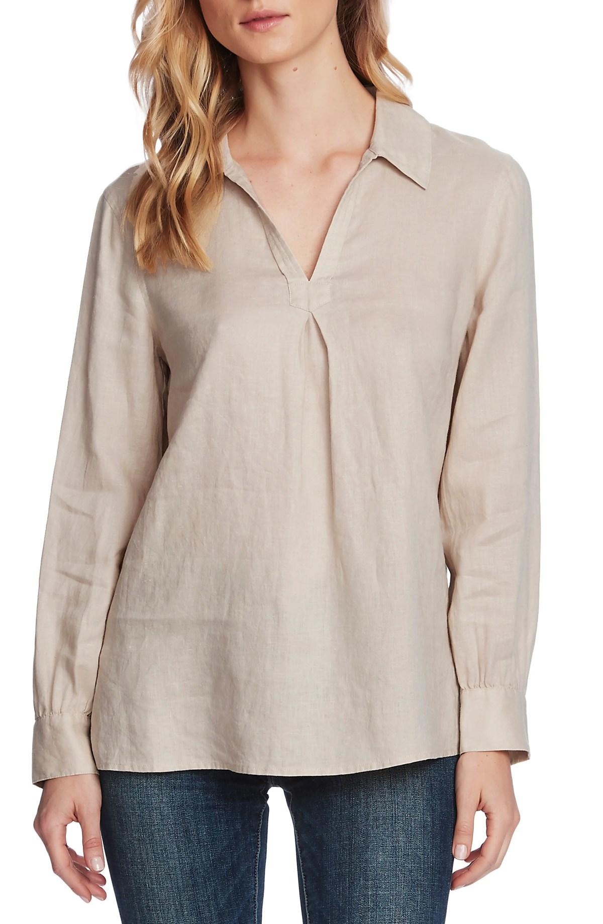 VINCE CAMUTO Split Neck Linen Blouse, Main, color, NATURAL