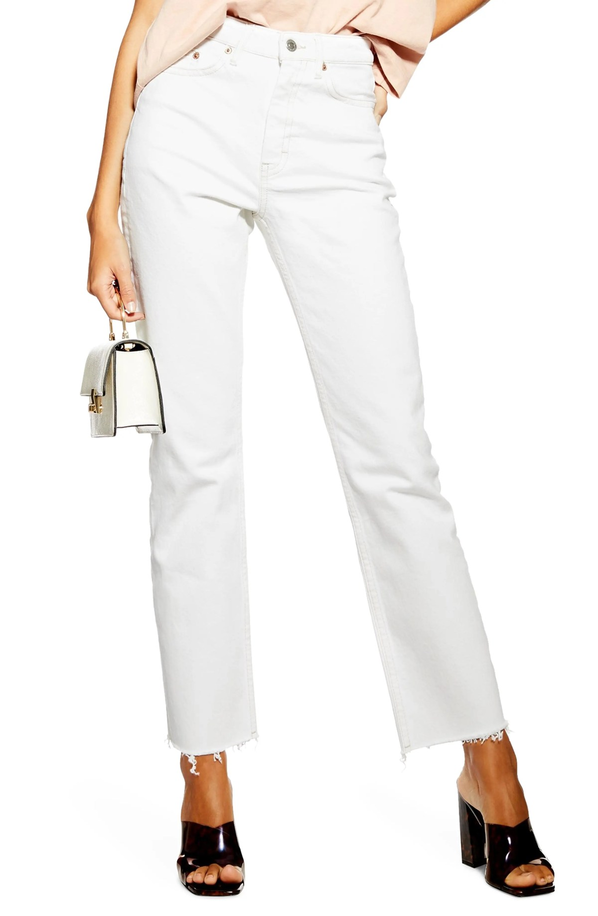 High Waist Straight Leg Jeans, Main, color, CREAM