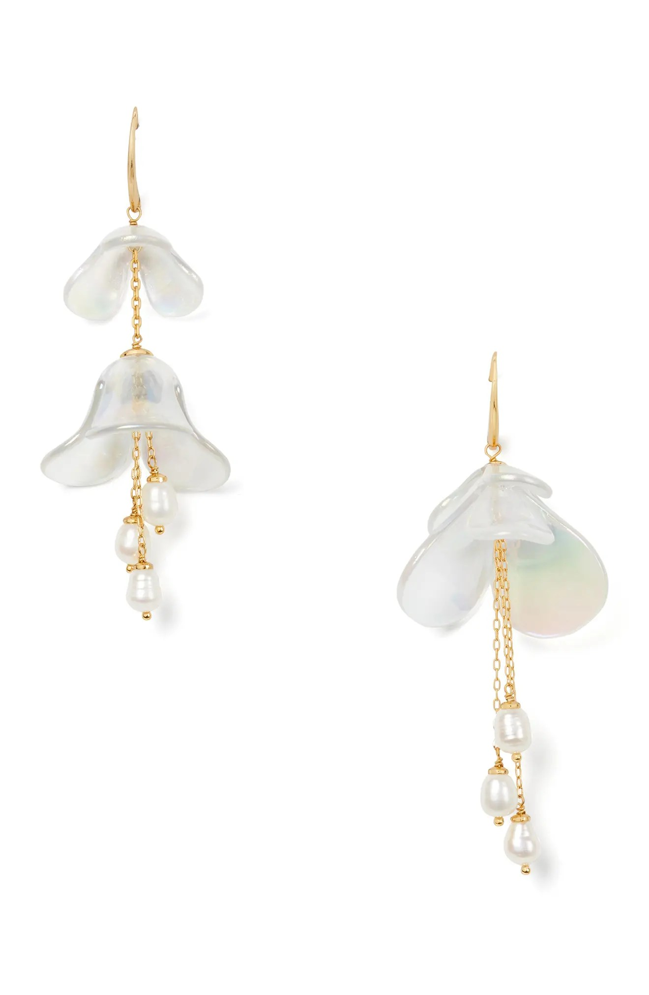 kate spade new york painted petal pearl statement drop earrings nordstrom rack