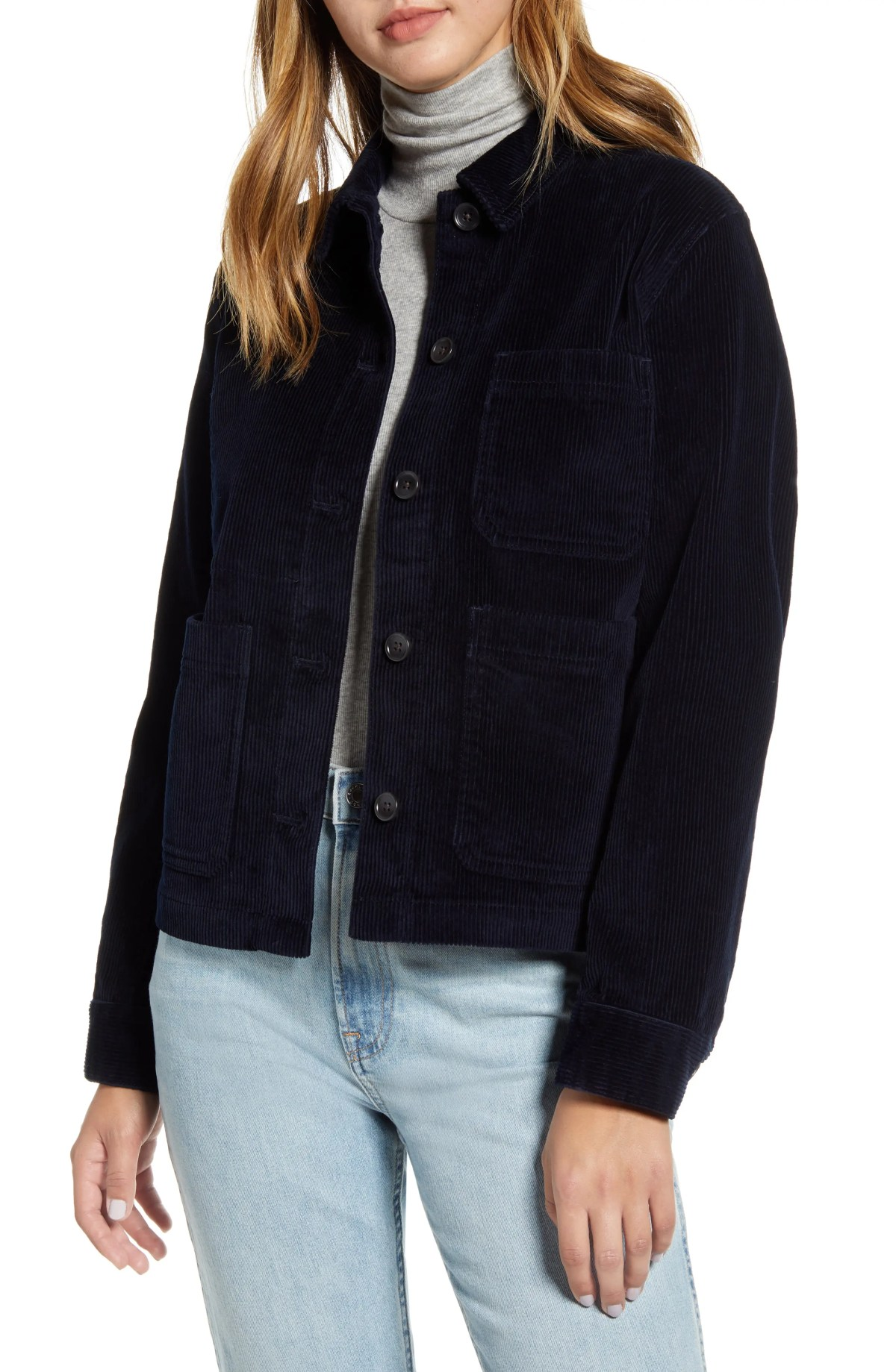 EVERLANE Corduroy Chore Jacket, Alternate, color, NAVY SWATCH