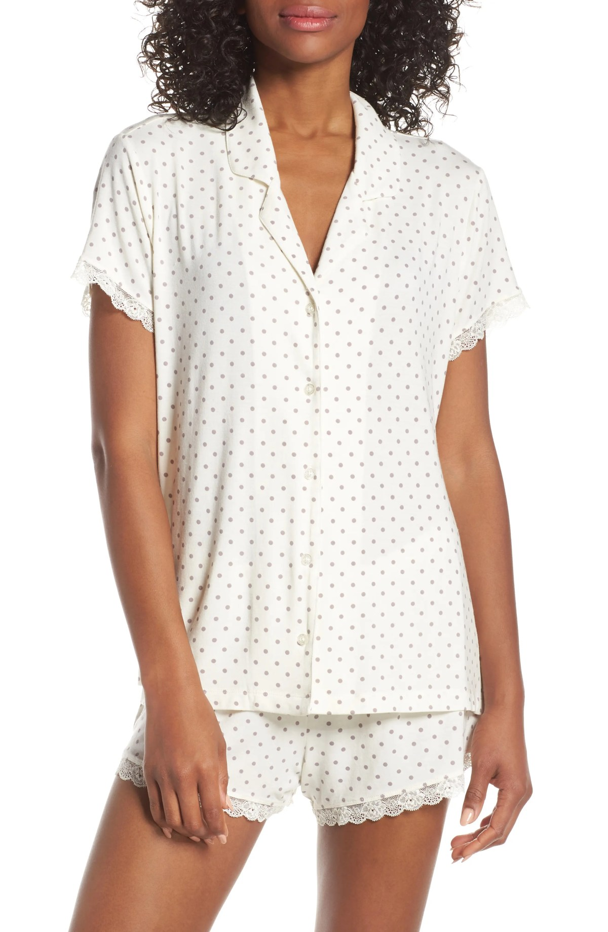 Moonlight Short Pajamas, Main, color, IVORY EGRET EASY DOT