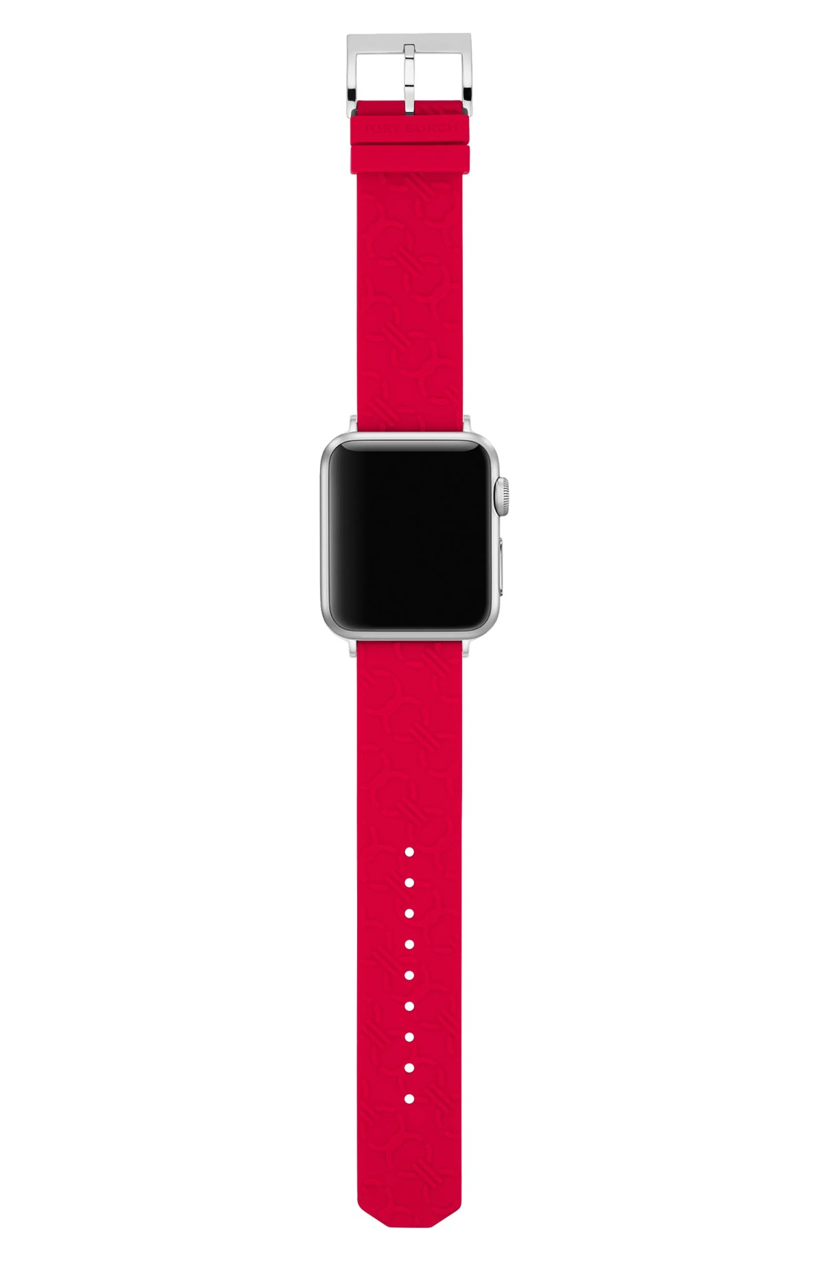 TORY BURCH Double-T Link Embossed Silicone Apple Watch<sup>®</sup> Strap, Main, color, RED