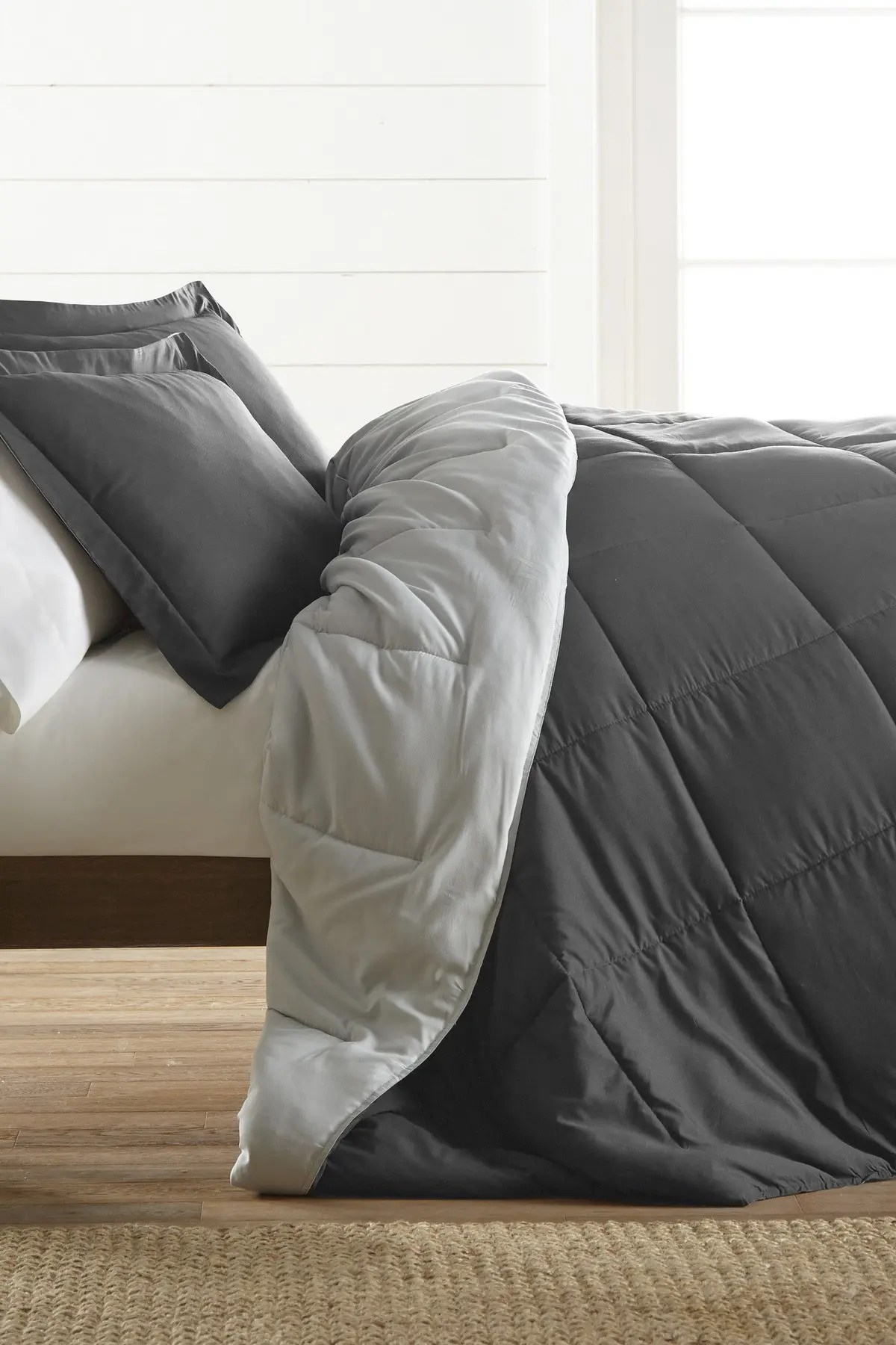 home spun treat yourself to the ultimate down alternative reversible 3 piece comforter set gray queen nordstrom rack