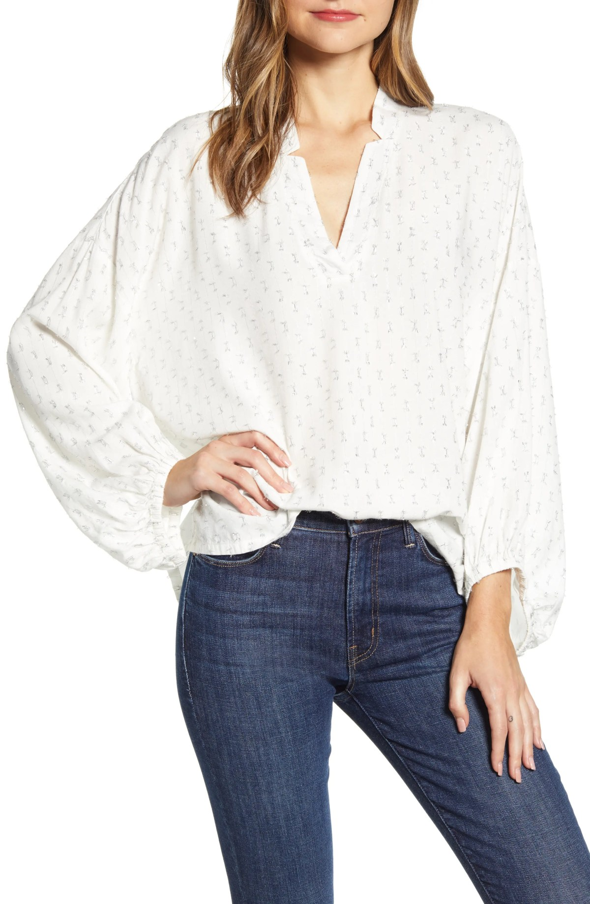 LOU & GREY Shimmer Dot Poet Blouse, Main, color, MOONLIGHT IVORY