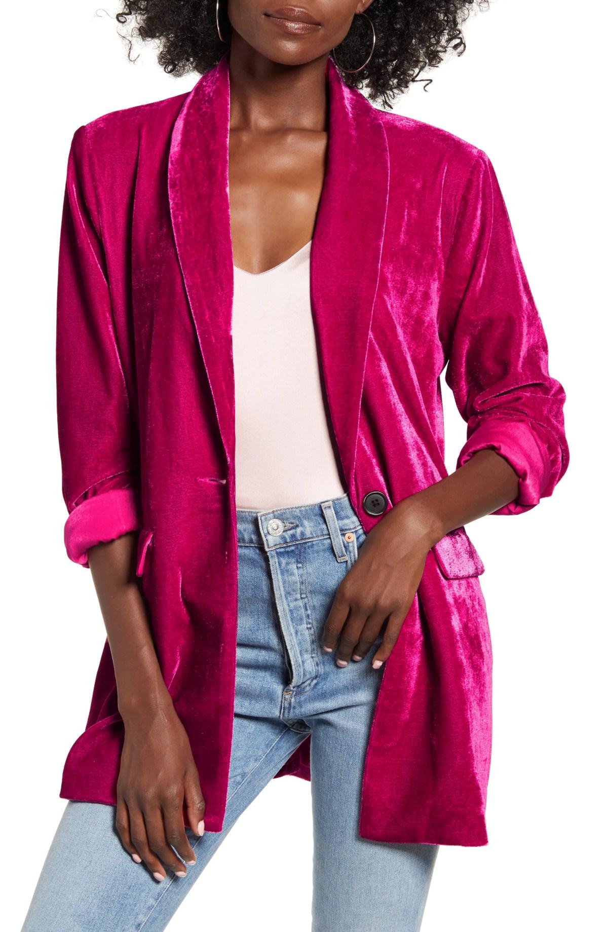 ENDLESS ROSE Velvet Blazer, Main, color, PINK