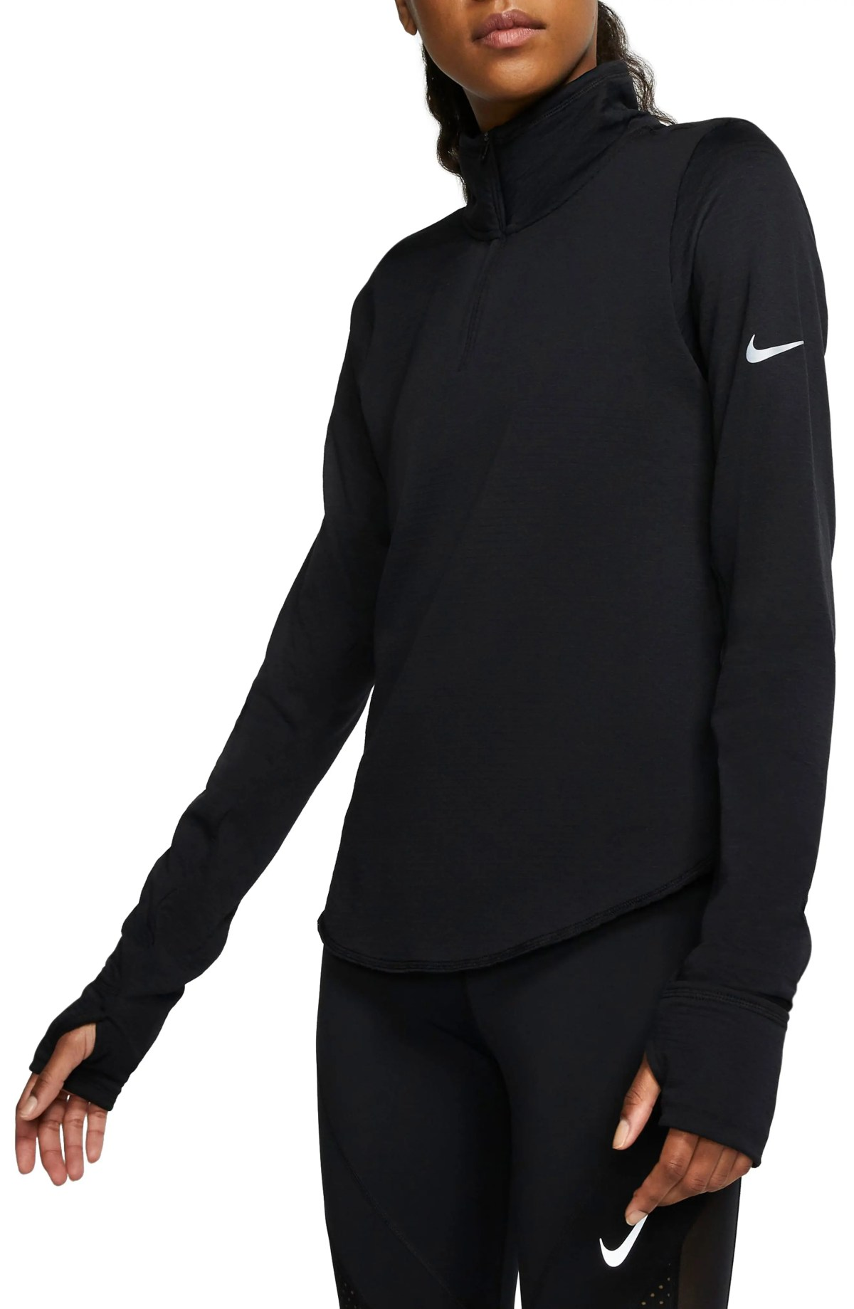 NIKE Sphere Element Half Zip Running Pullover, Main, color, BLACK/ REFLECTIVE SILV