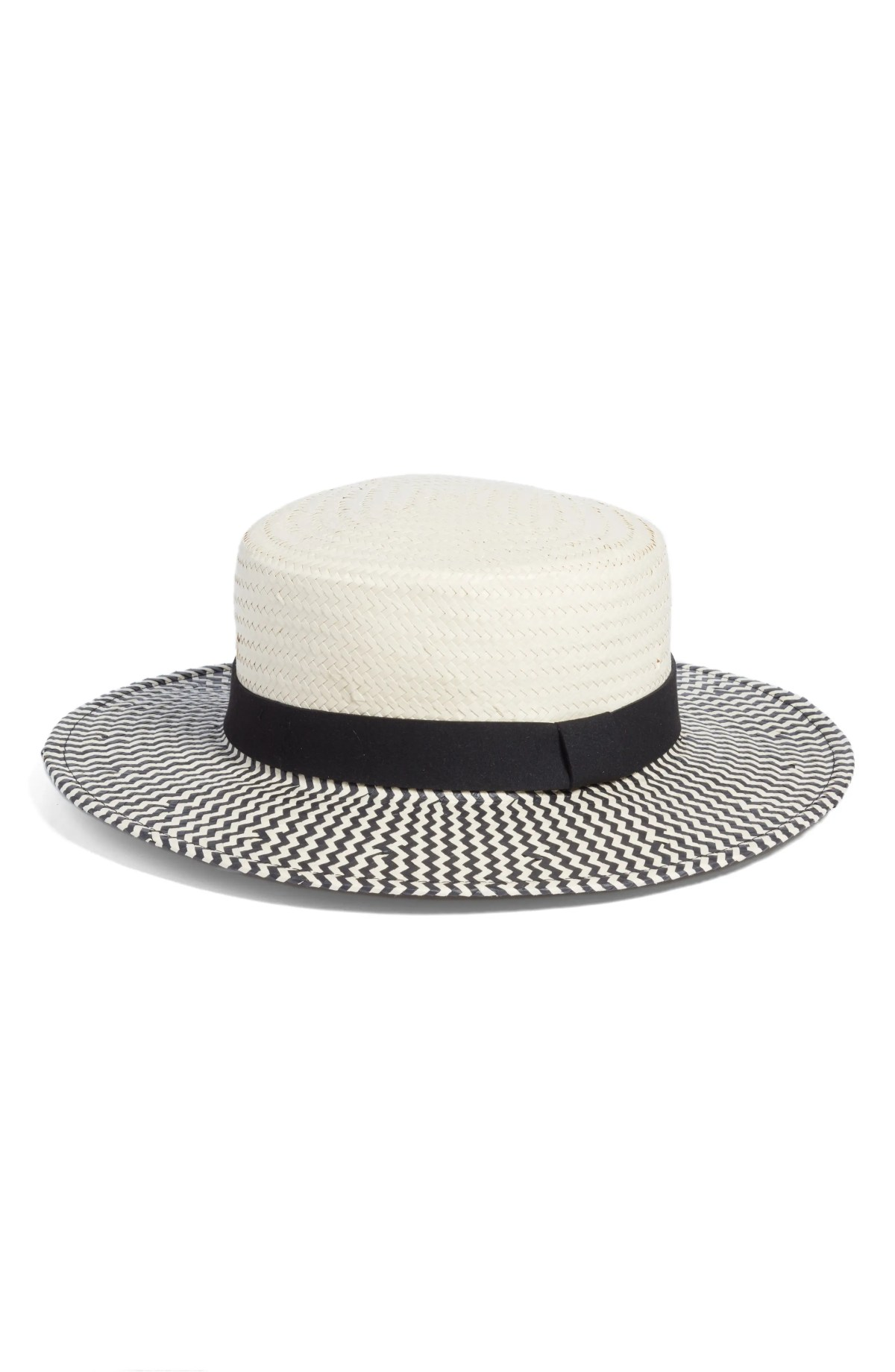 Two-Color Boater Hat, Main, color, IVORY COMBO