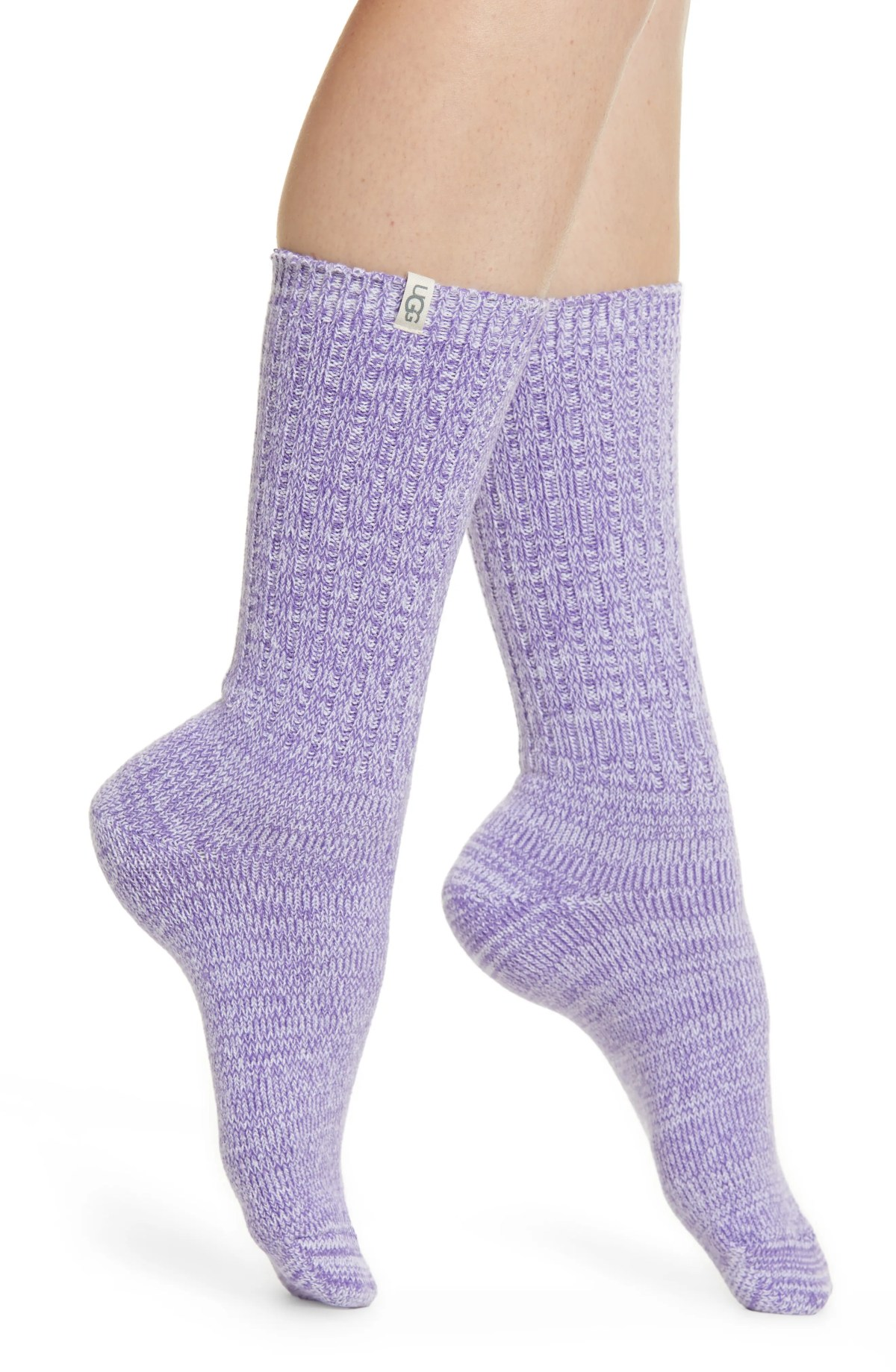 UGG<SUP>®</SUP> Ribbed Crew Socks, Main, color, VIOLET BLOOM