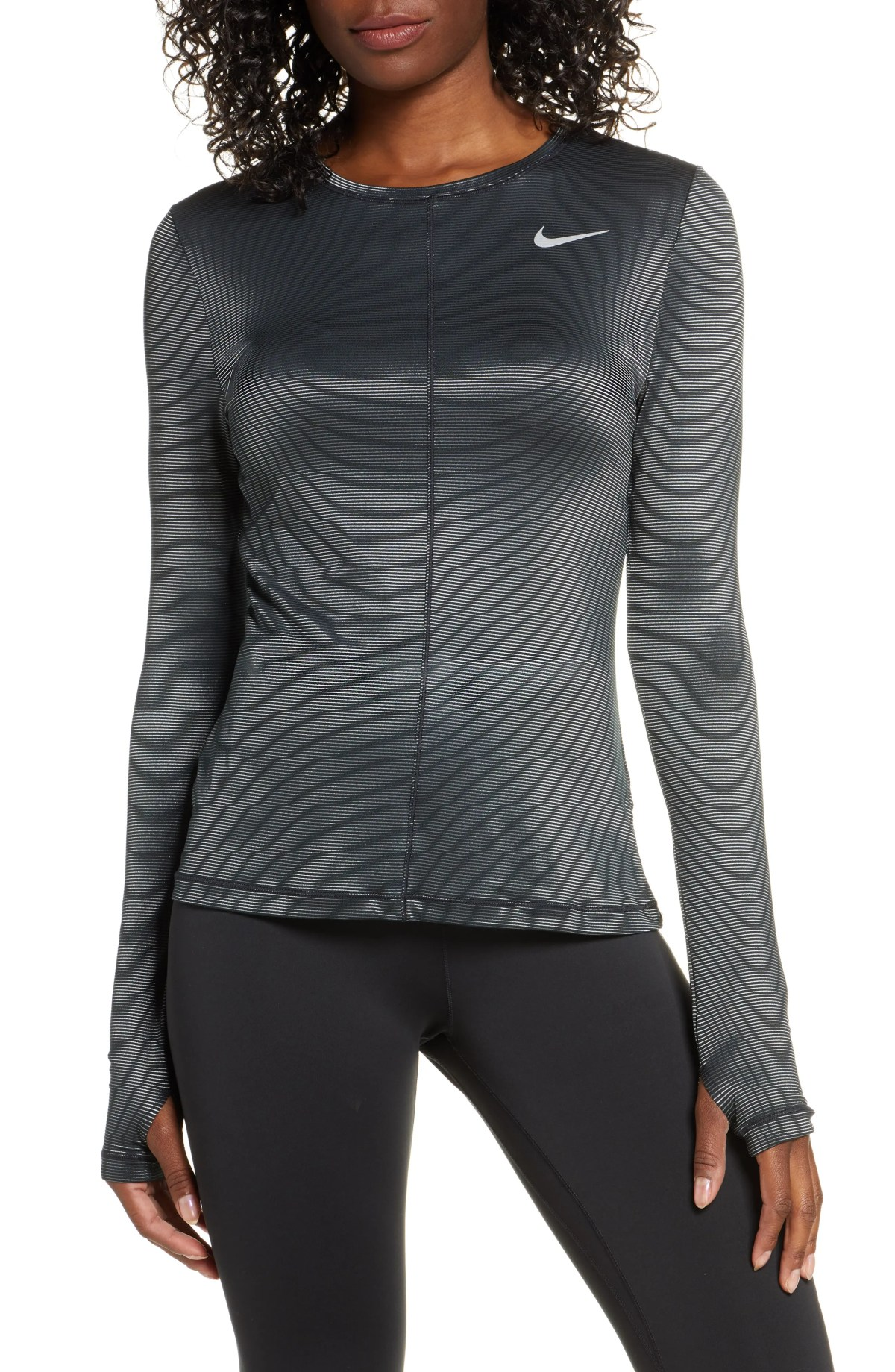 NIKE Dry Miler Shine Long Sleeve Shirt, Main, color, BLK/ MET SILV/ REFLECT SILV