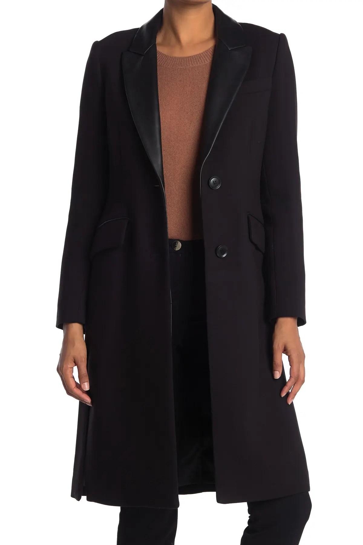 leather trim riding coat