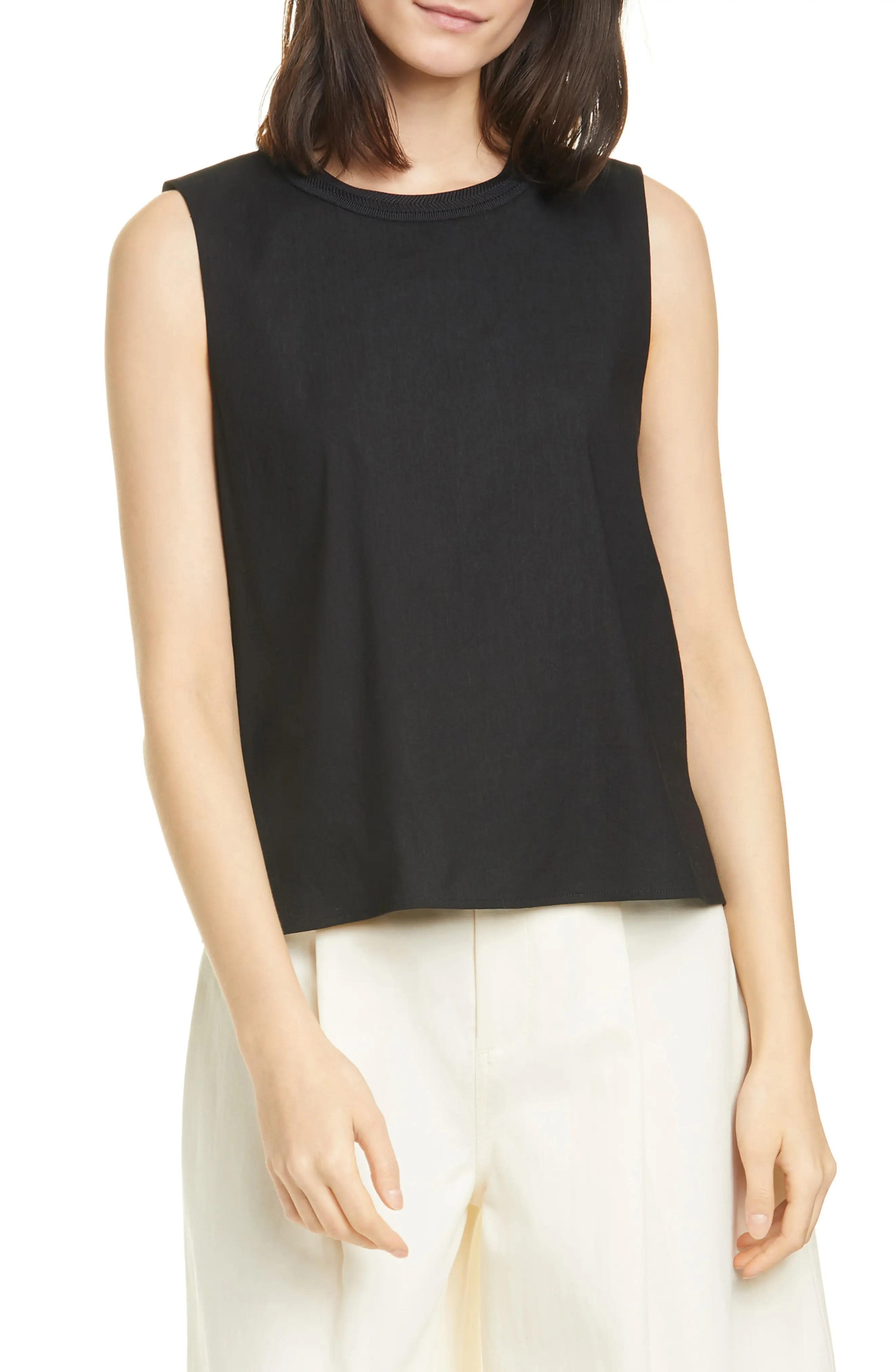 crew neck linen blend sleeveless top