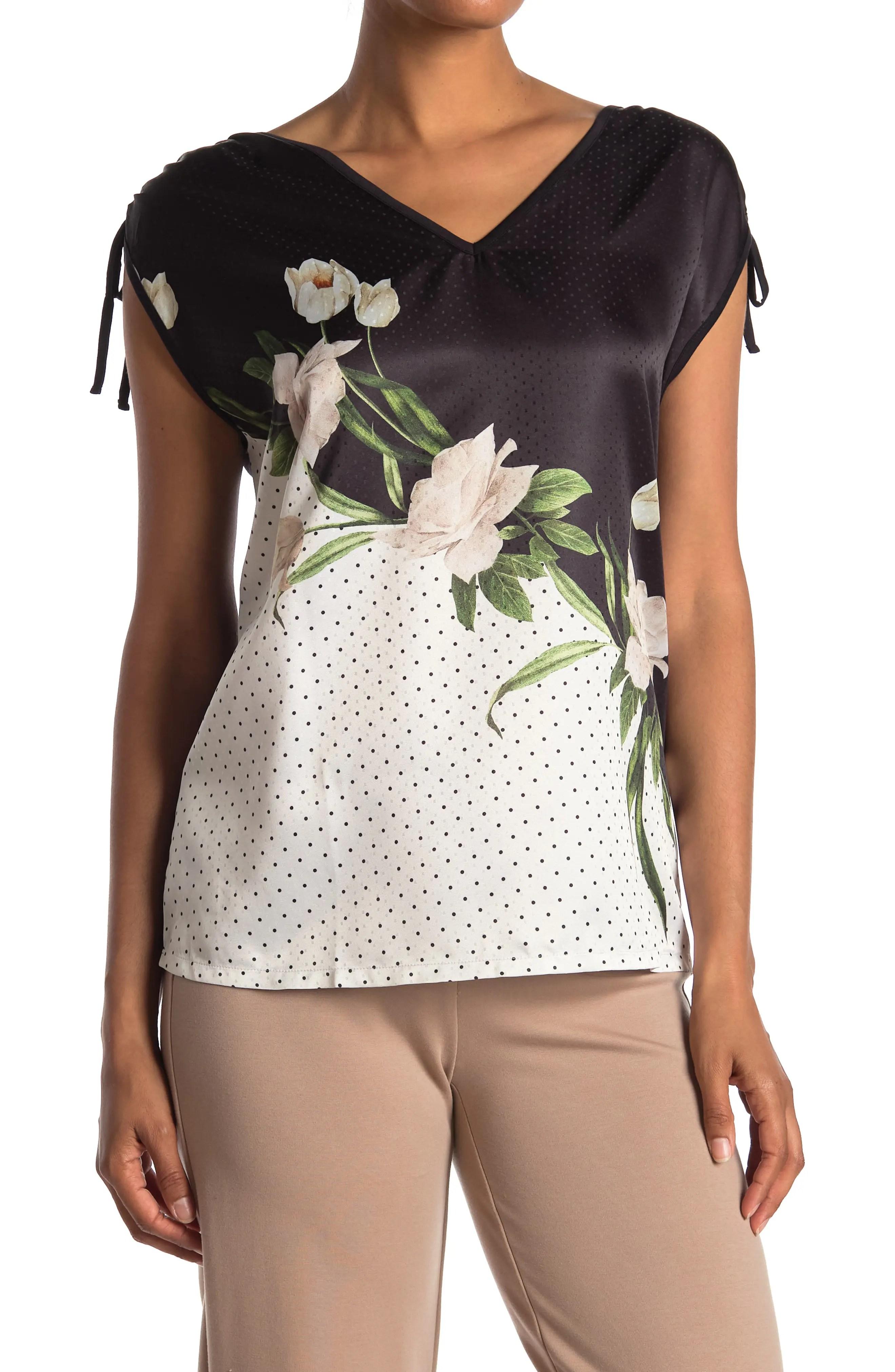 ted baker london floral ruche shoulder sleeveless top nordstrom rack