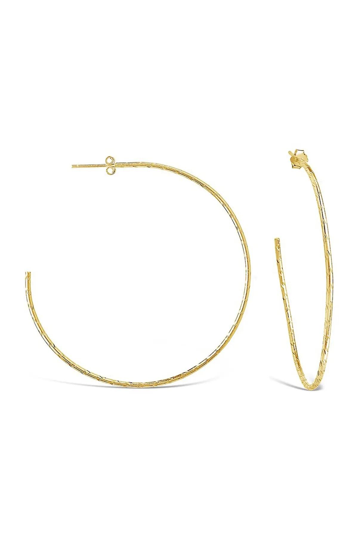 sterling forever 14k yellow gold vermeil hammered 2 25 hoop earrings nordstrom rack