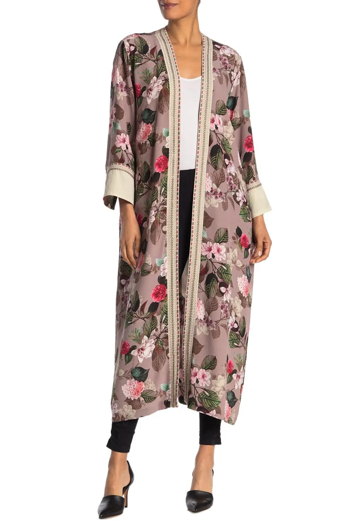floral silk maxi kimono robe