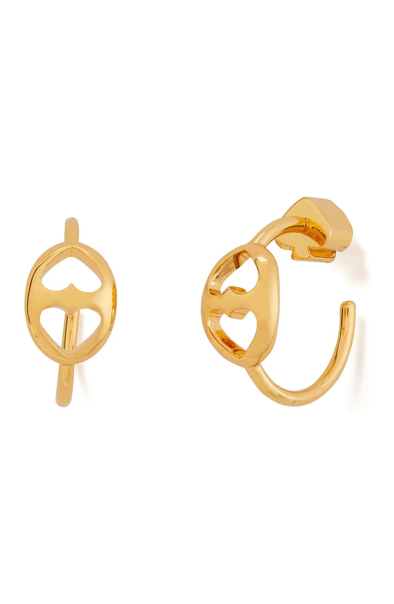 kate spade new york gold plated small heart cutout huggie hoop earrings nordstrom rack