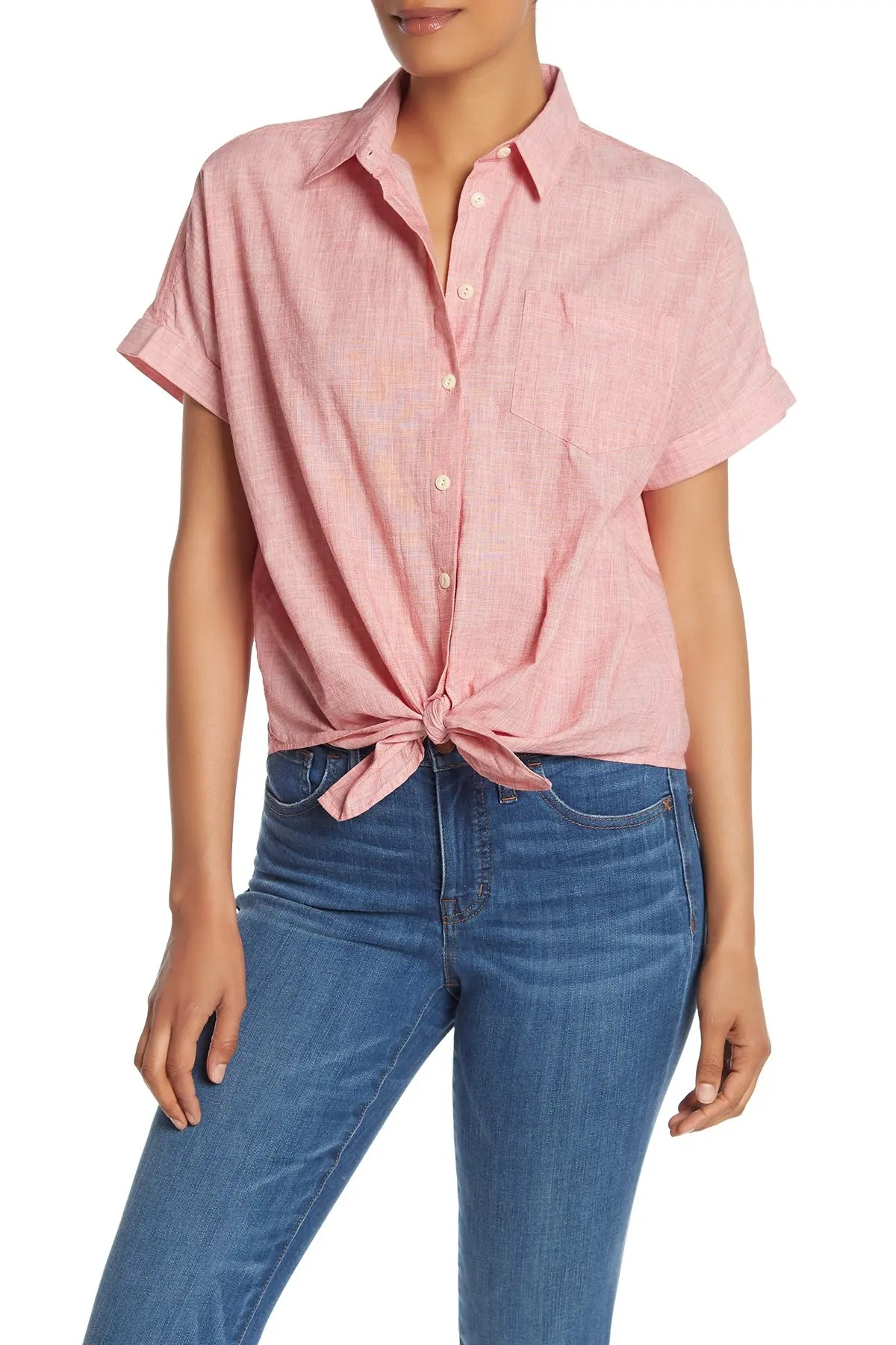 madewell end on end tie front button down t shirt nordstrom rack
