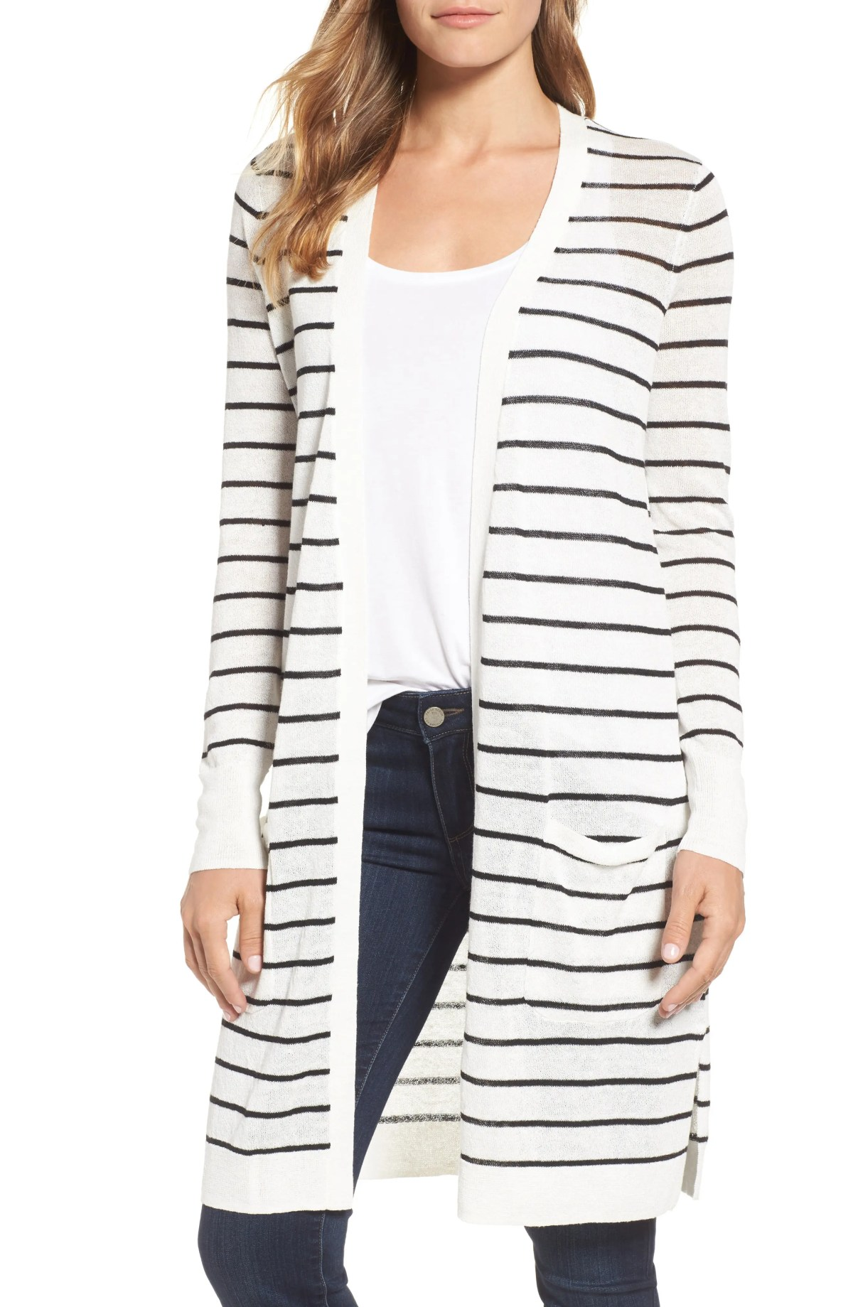 Long Linen Blend Cardigan, Main, color, IVORY CLOUD- BLACK STRIPE