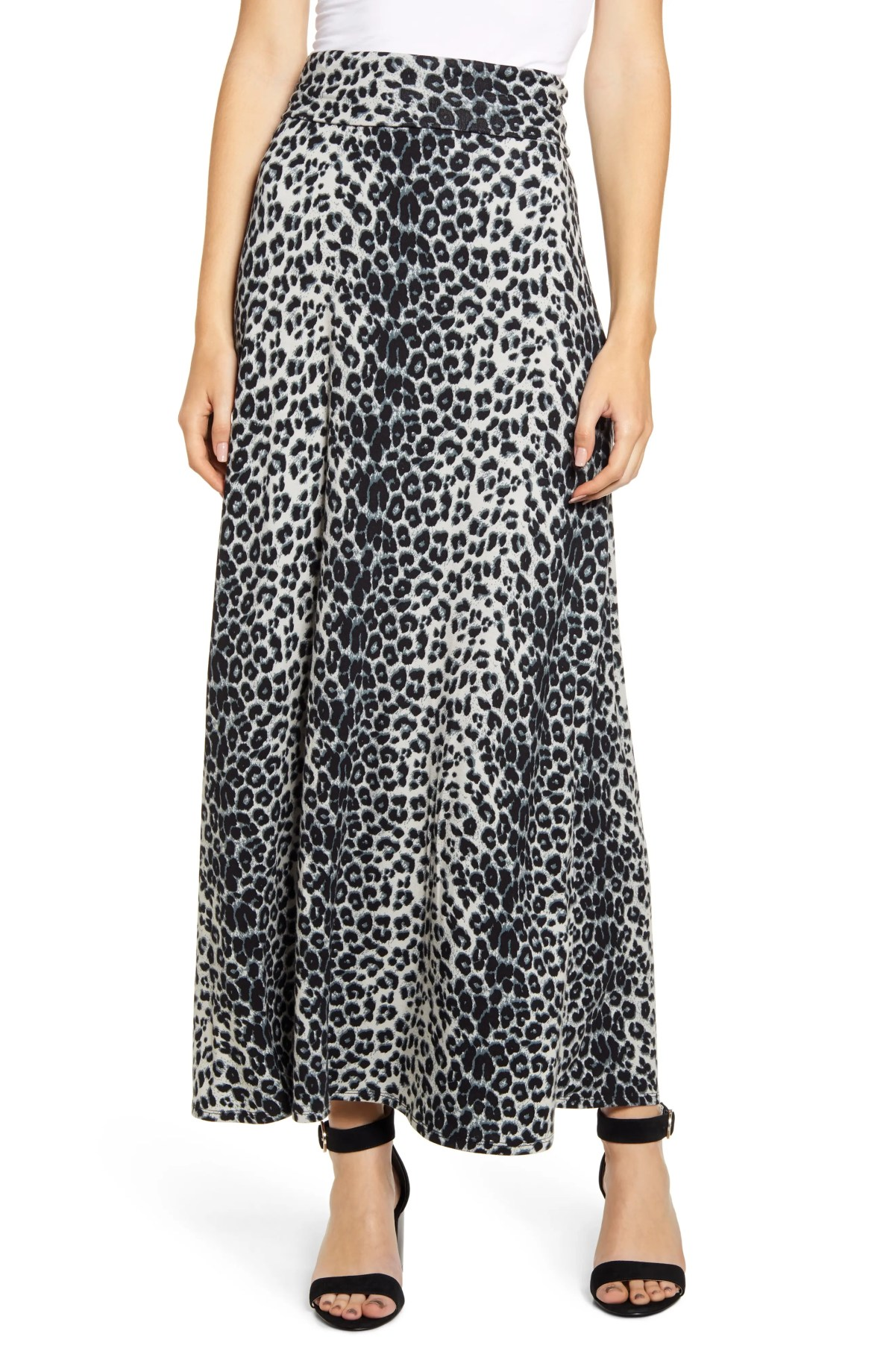 LOVEAPPELLA Roll Top Maxi Skirt, Main, color, GRAY/ BLACK