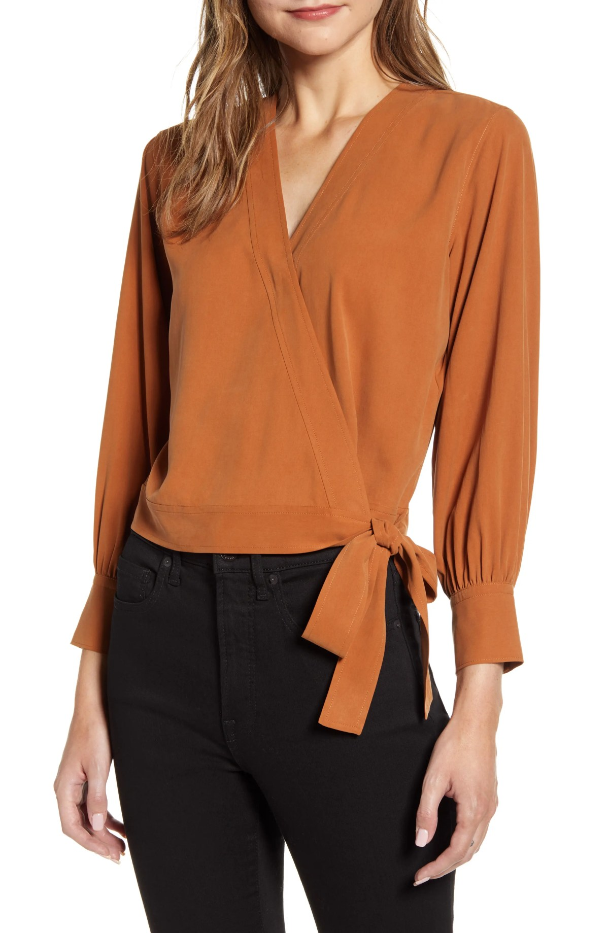 EVERLANE The Washable Silk Wrap Top, Alternate, color, AUTUMN LEAF