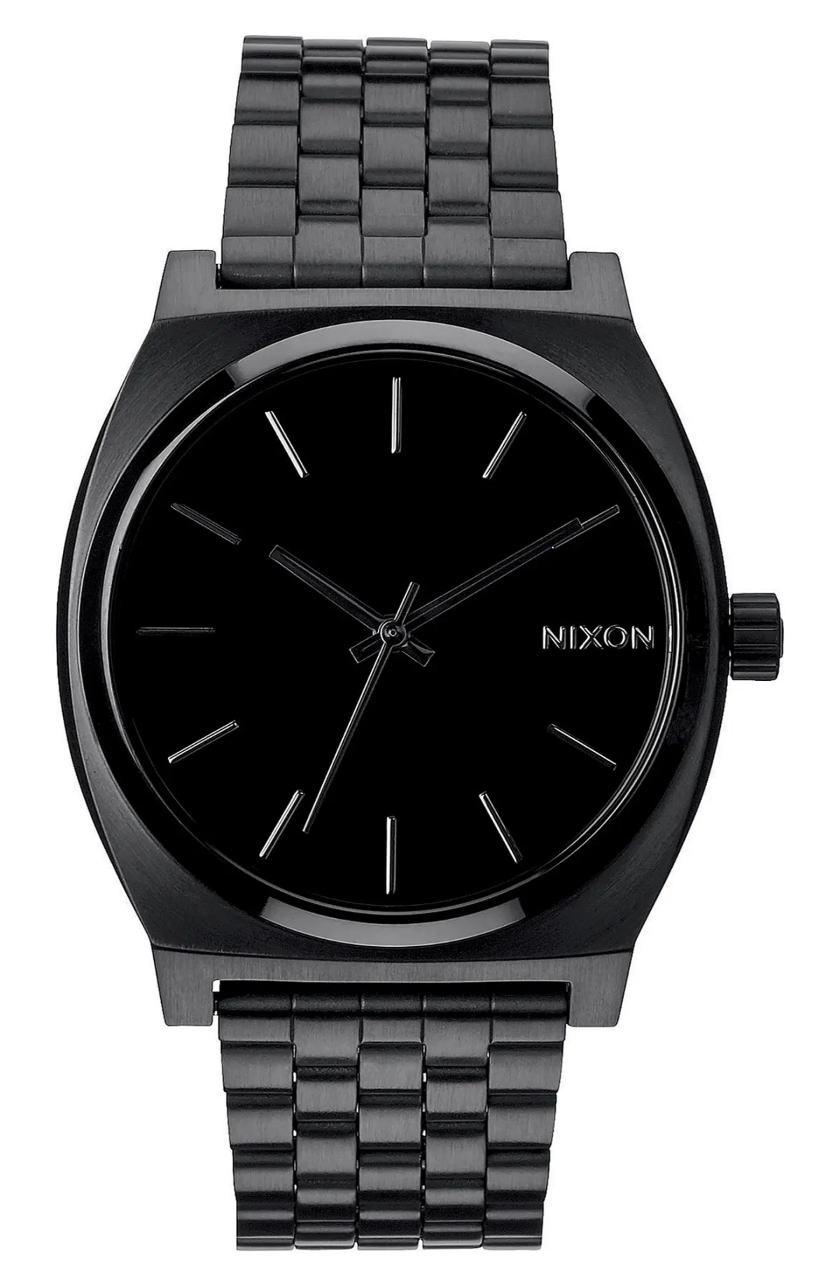 NIXON 'The Time Teller' Stainless Steel Bracelet Watch, 37mm, Main, color, BLACK/ BLACK