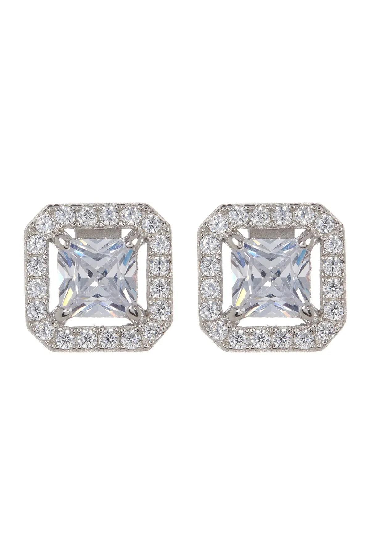 princess cz pave stud earrings