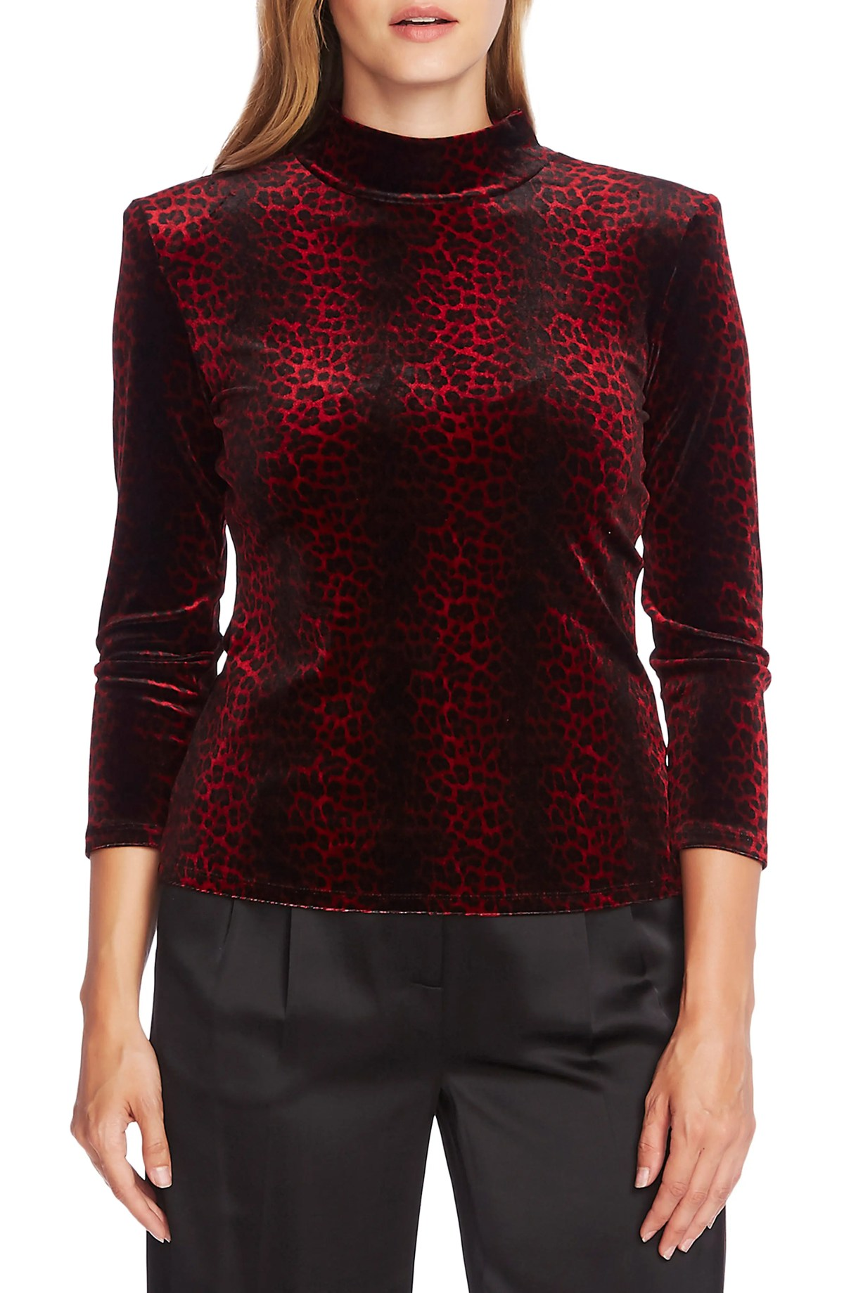 VINCE CAMUTO Moonlit Leopard Print Top, Main, color, FLORENCE RED