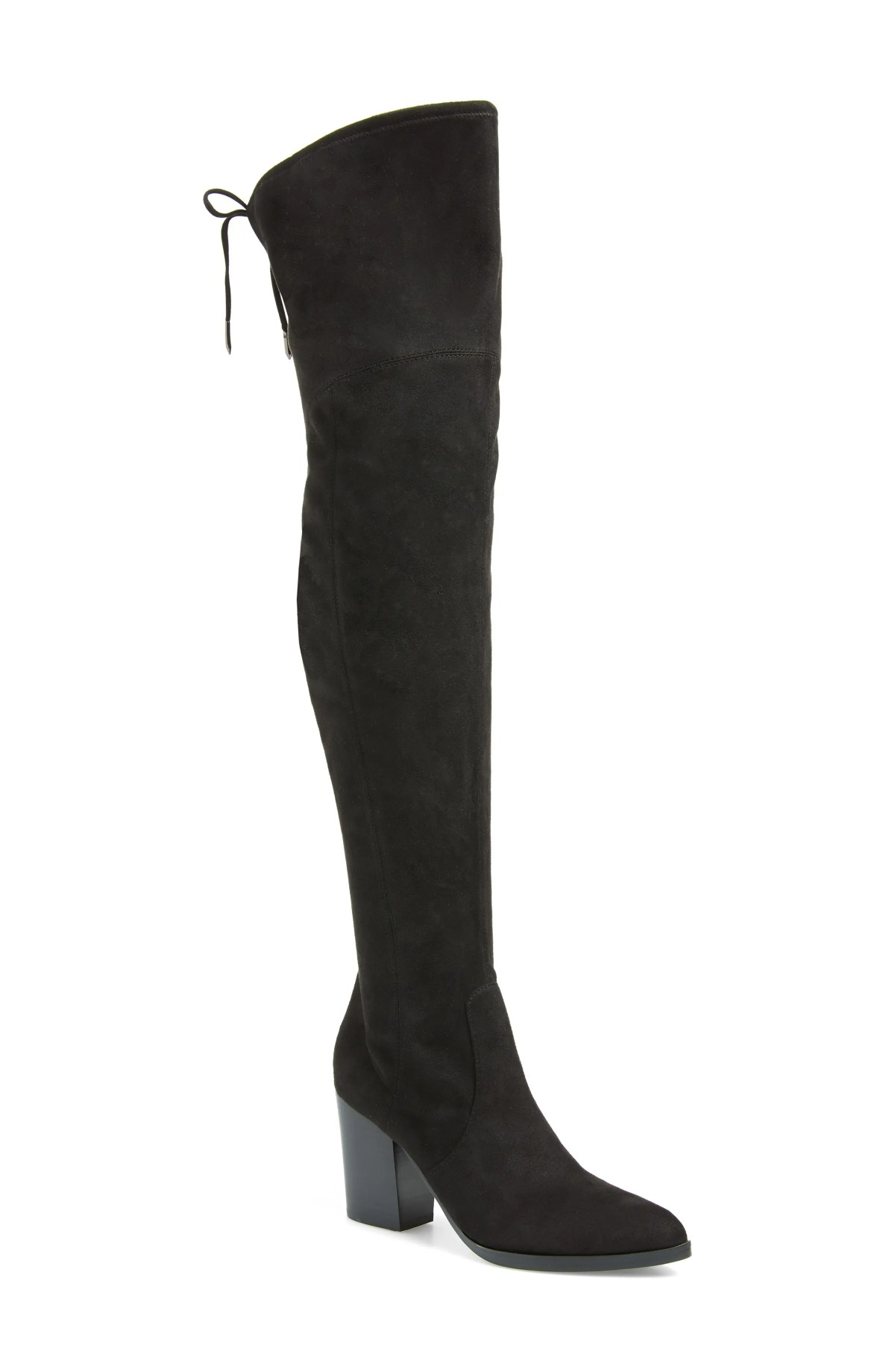 MARC FISHER LTD Arletta Over the Knee Boot, Main, color, BLACK STRETCH FAUX SUEDE