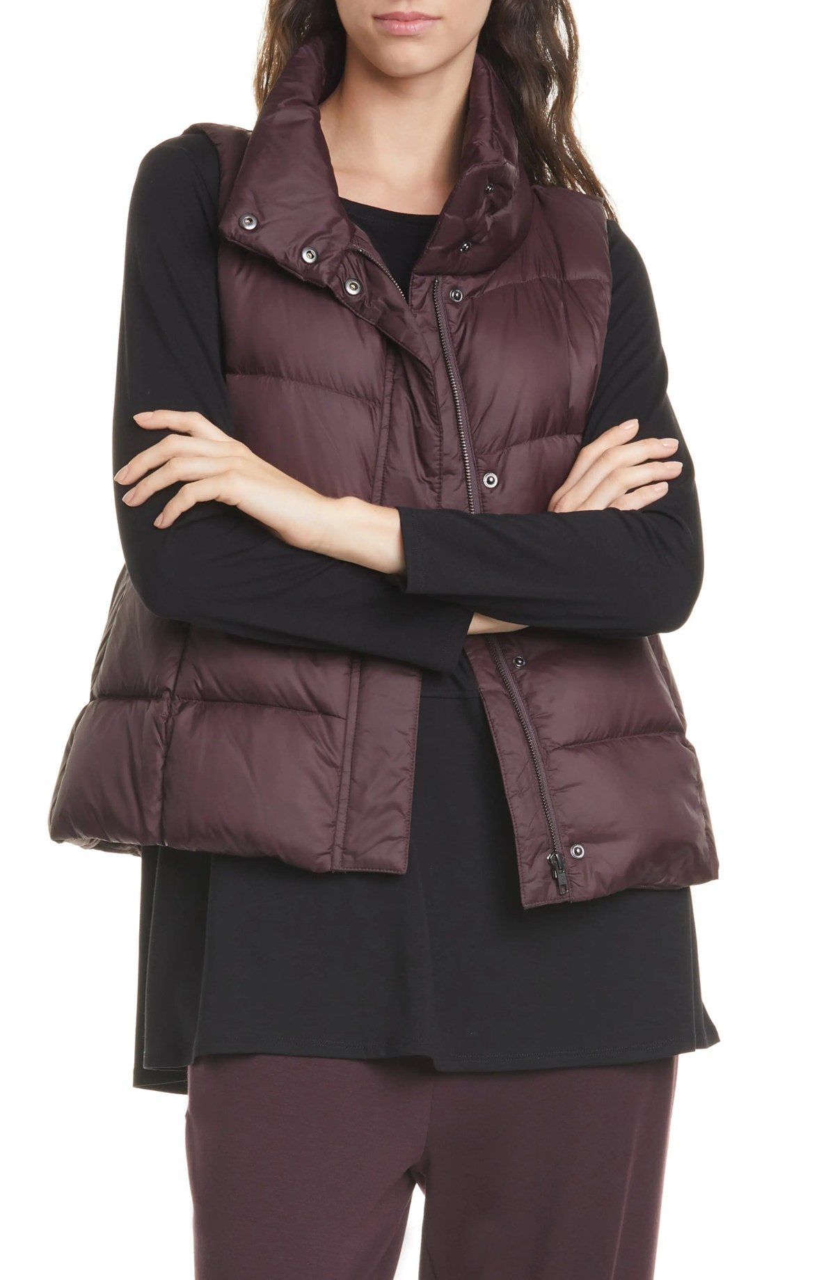 EILEEN FISHER Down Puffer Vest, Main, color, CASSIS