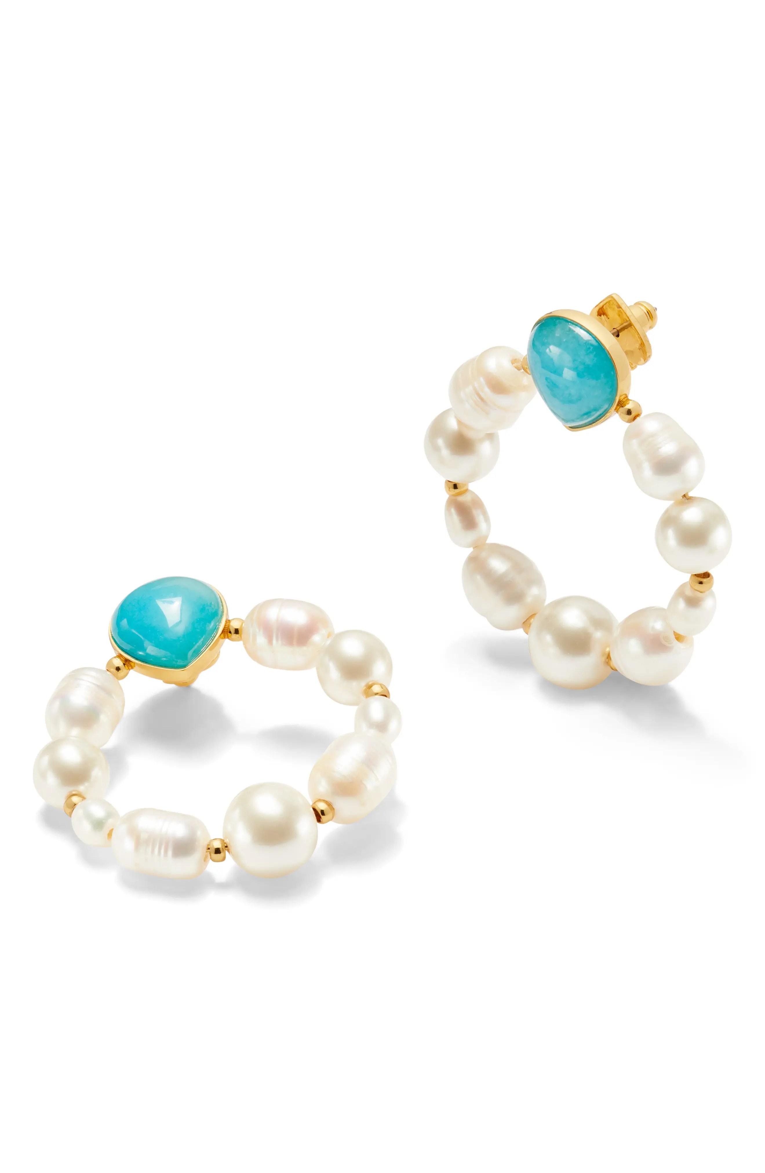 kate spade new york freshwater pearl stone hoop earrings nordstrom rack
