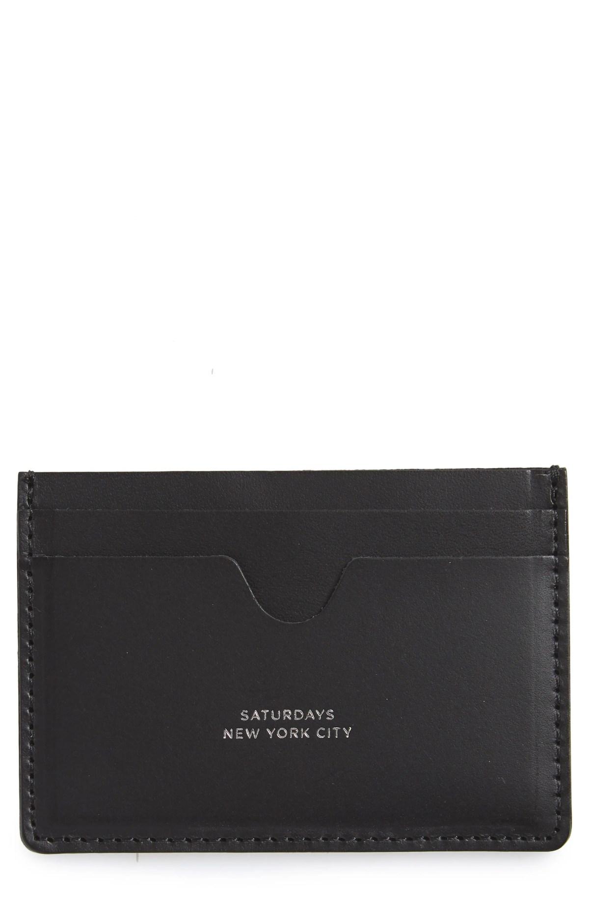 Ryan Leather Card Case, Main, color, BLACK