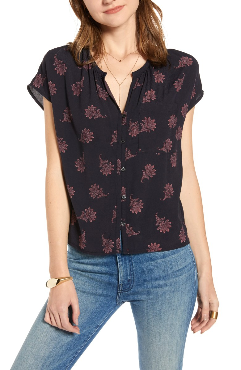 Print Front Button Top, Main, color, NAVY NIGHT FLORAL GEO